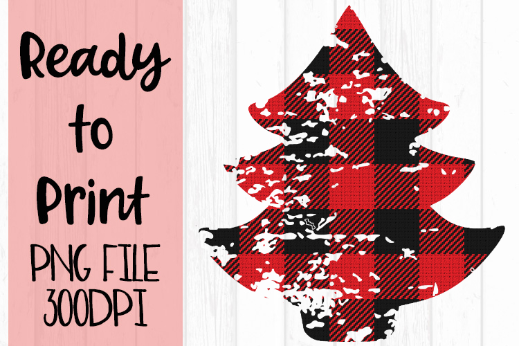 Red Buffalo Plaid Tree Ready to Print example image 1