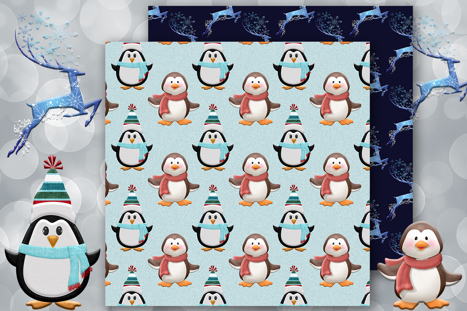 Snowy Winter, Penguin,Snowman,Snow, Ice, Frozen,BLACK FRIDAY example image 4
