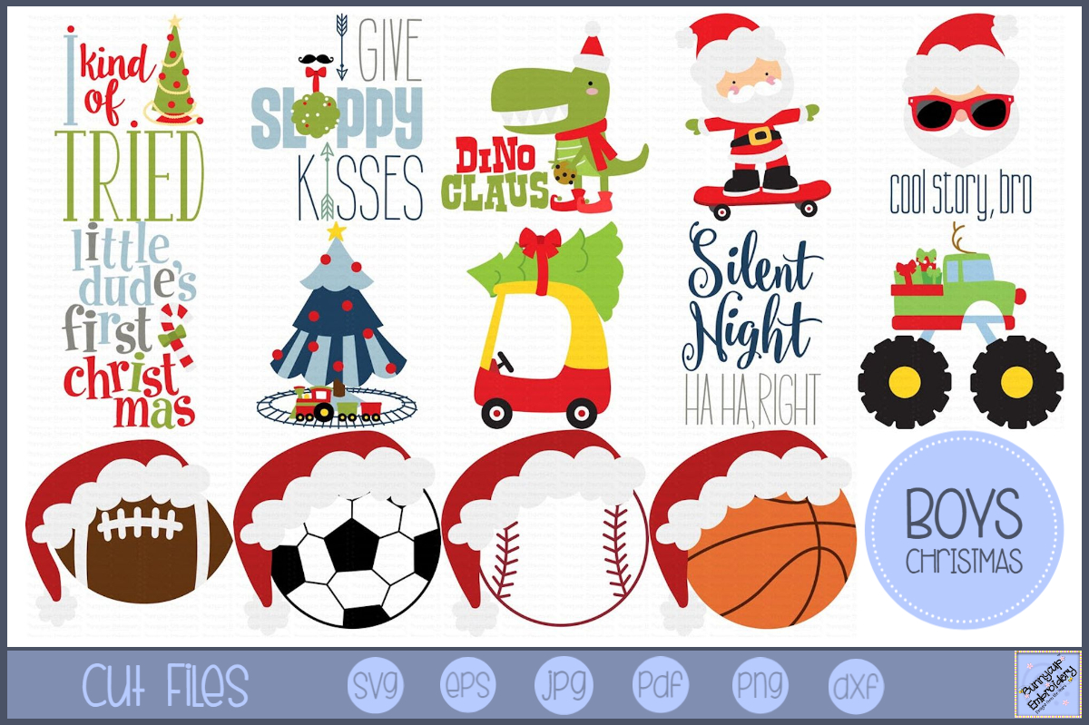 Boys Christmas - 14 SVG, Clipart, Printables Files example image 1