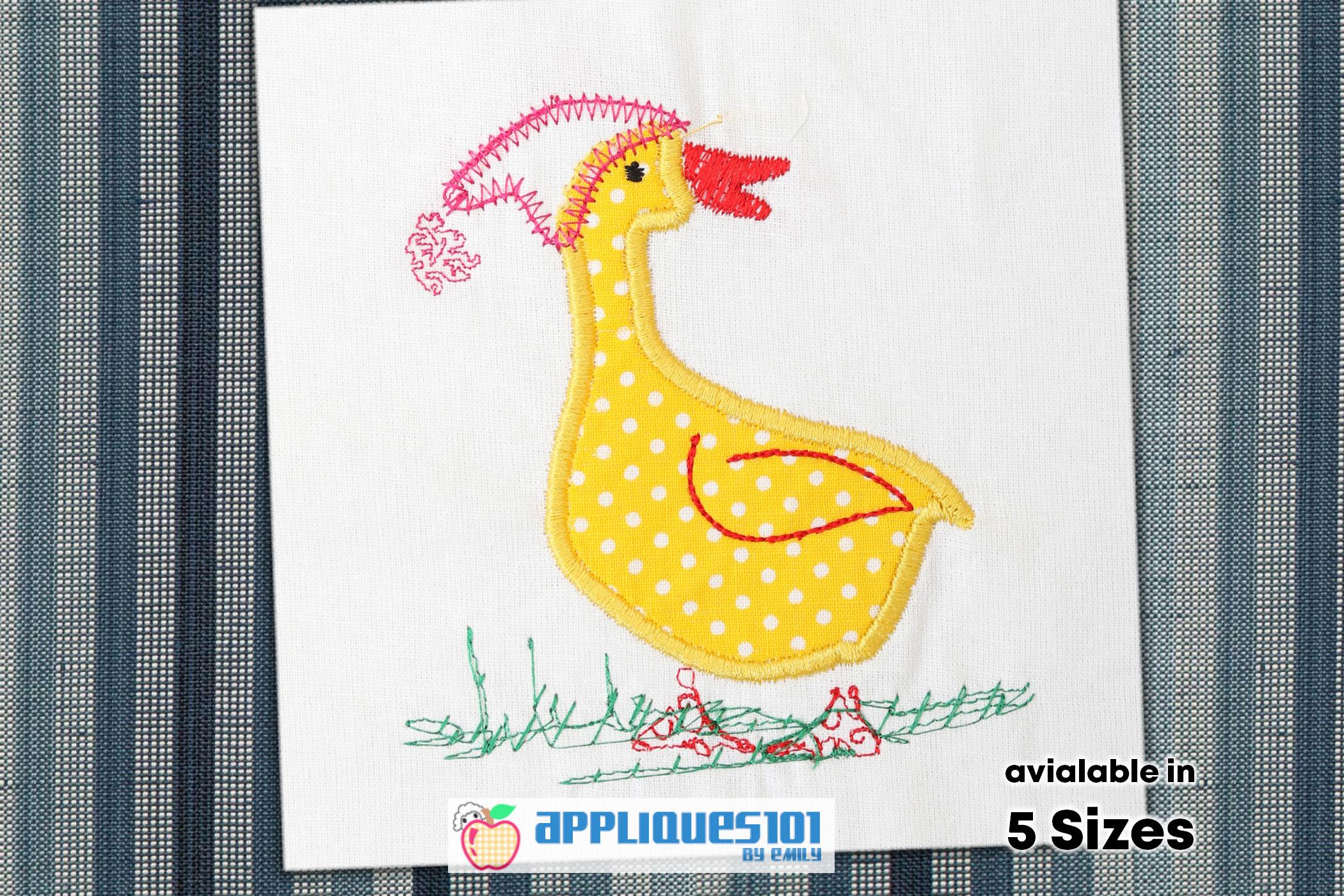 White Duck Embroidery Applique Design - Birds example image 1
