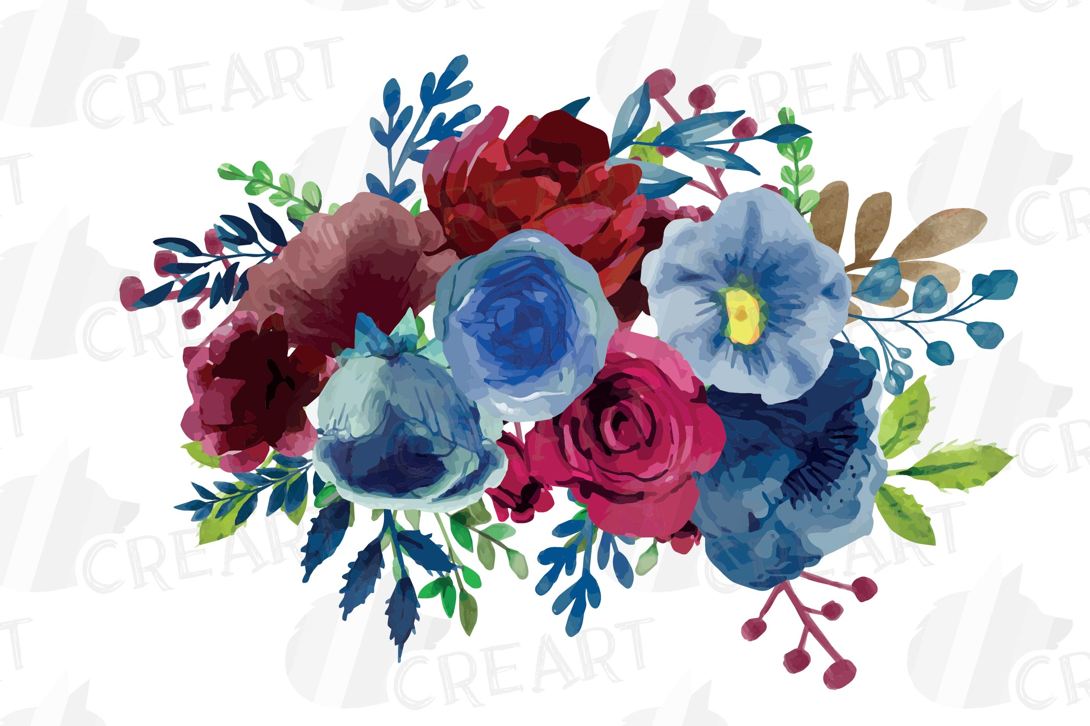 Colorful navy and burgundy floral watercolor wedding bouquet example image 9