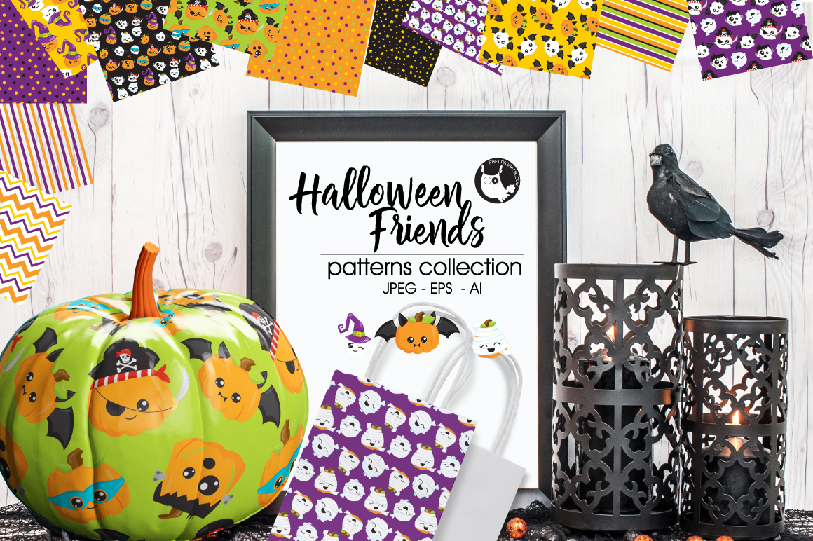 HALLOWEEN-FRIENDS, digital papers example image 1