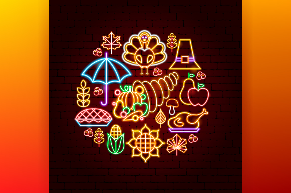 Thanksgiving Day Neon example image 4
