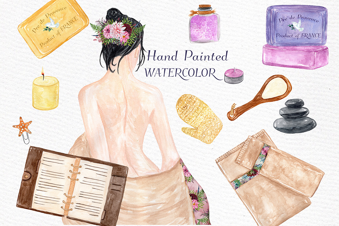 Watercolor SPA clipart example image 3
