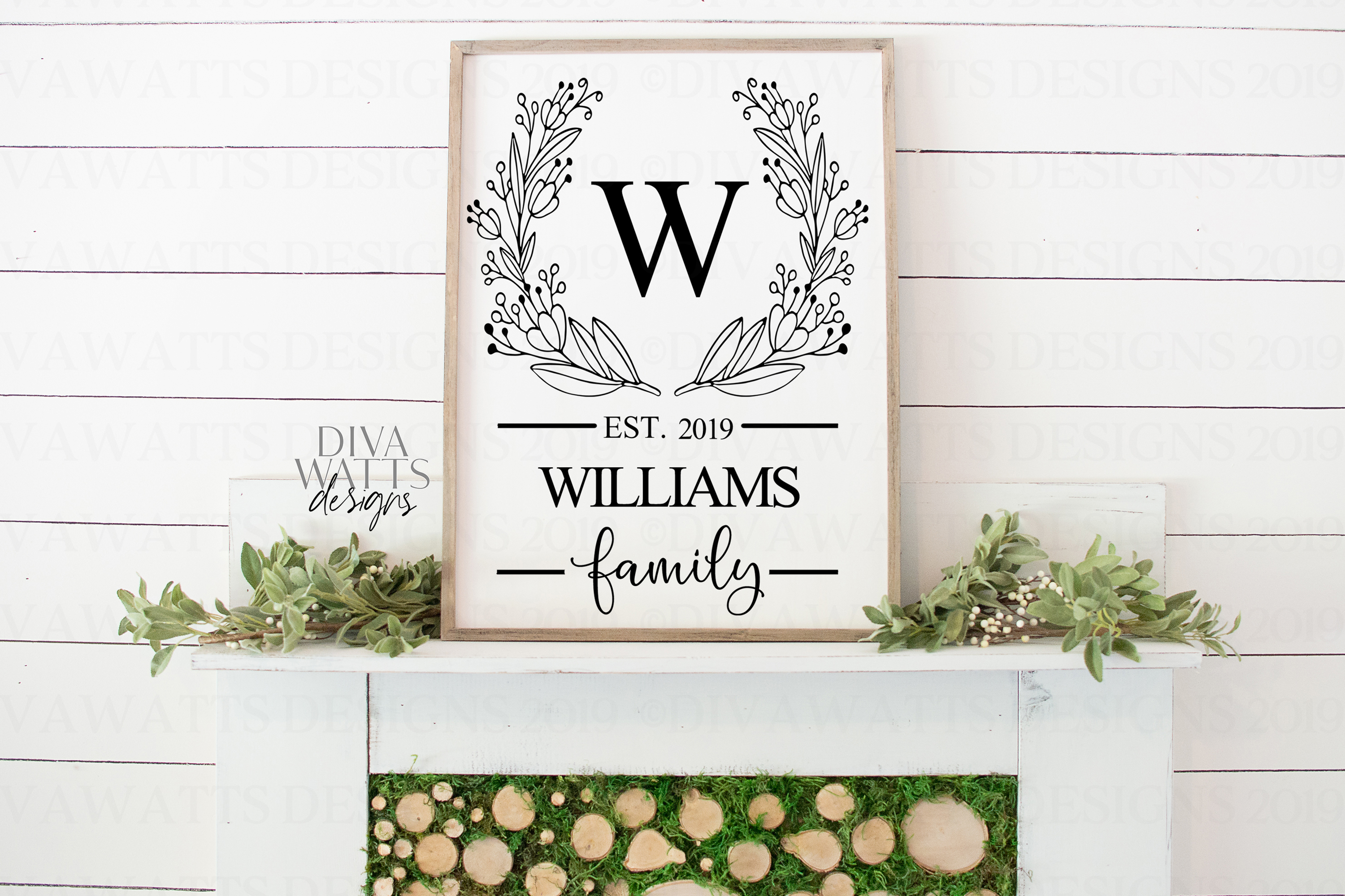 Monogram Wreath Family Last Name Farmhouse Sign SVG example image 3