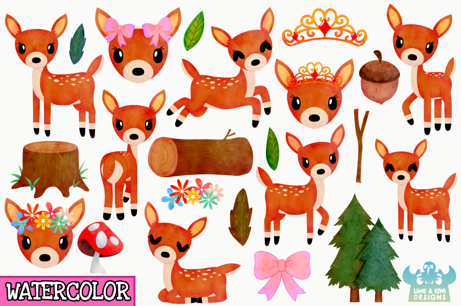Does Watercolor Clipart, Instant Download Vector Art example image 2