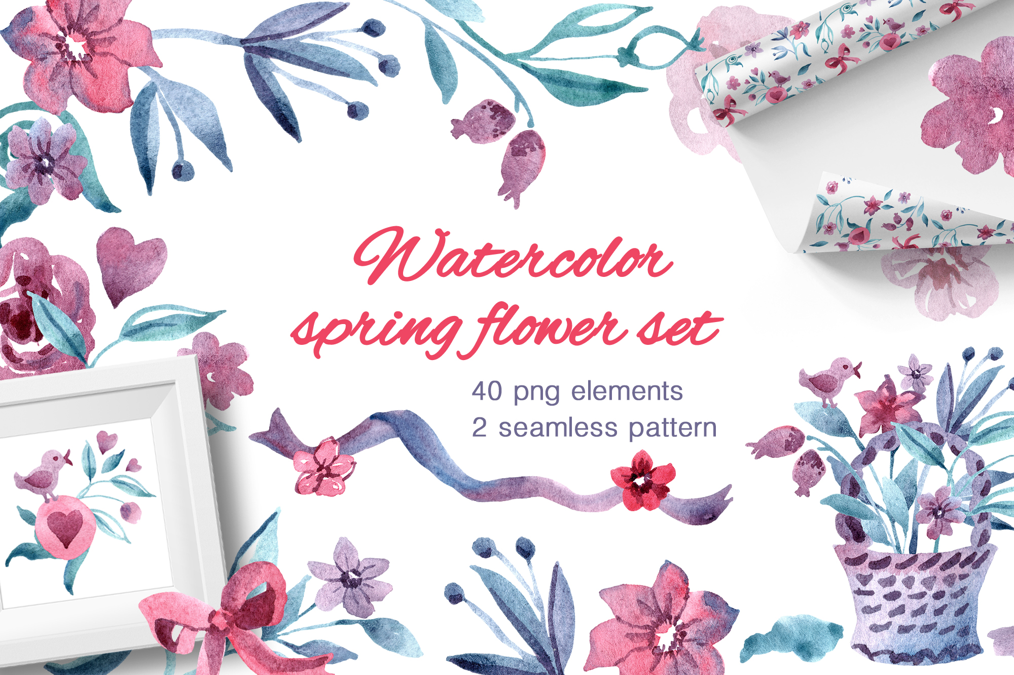 Watercolor spring flower set example image 1