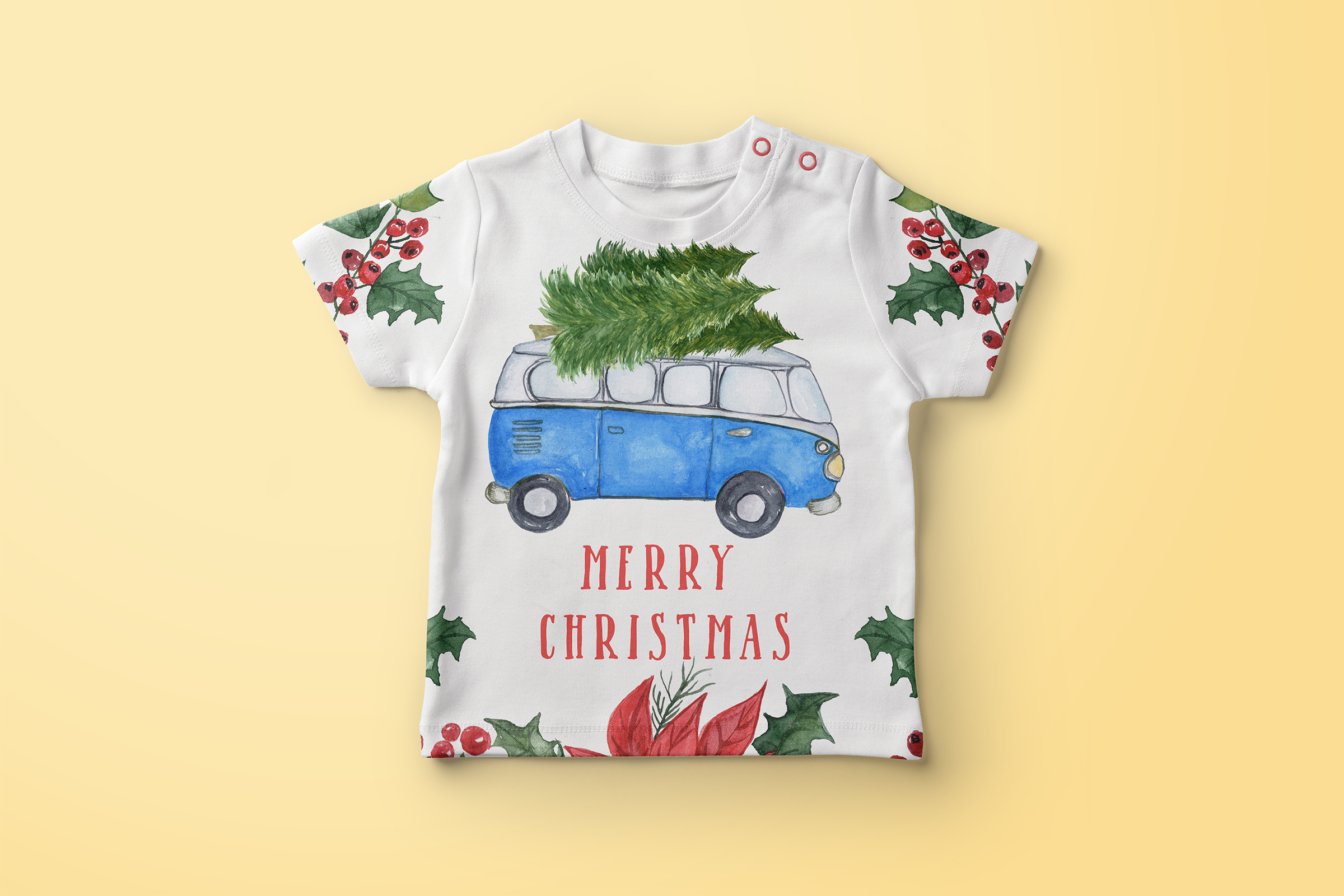 Watercolor Christmas Cars clipart example image 7