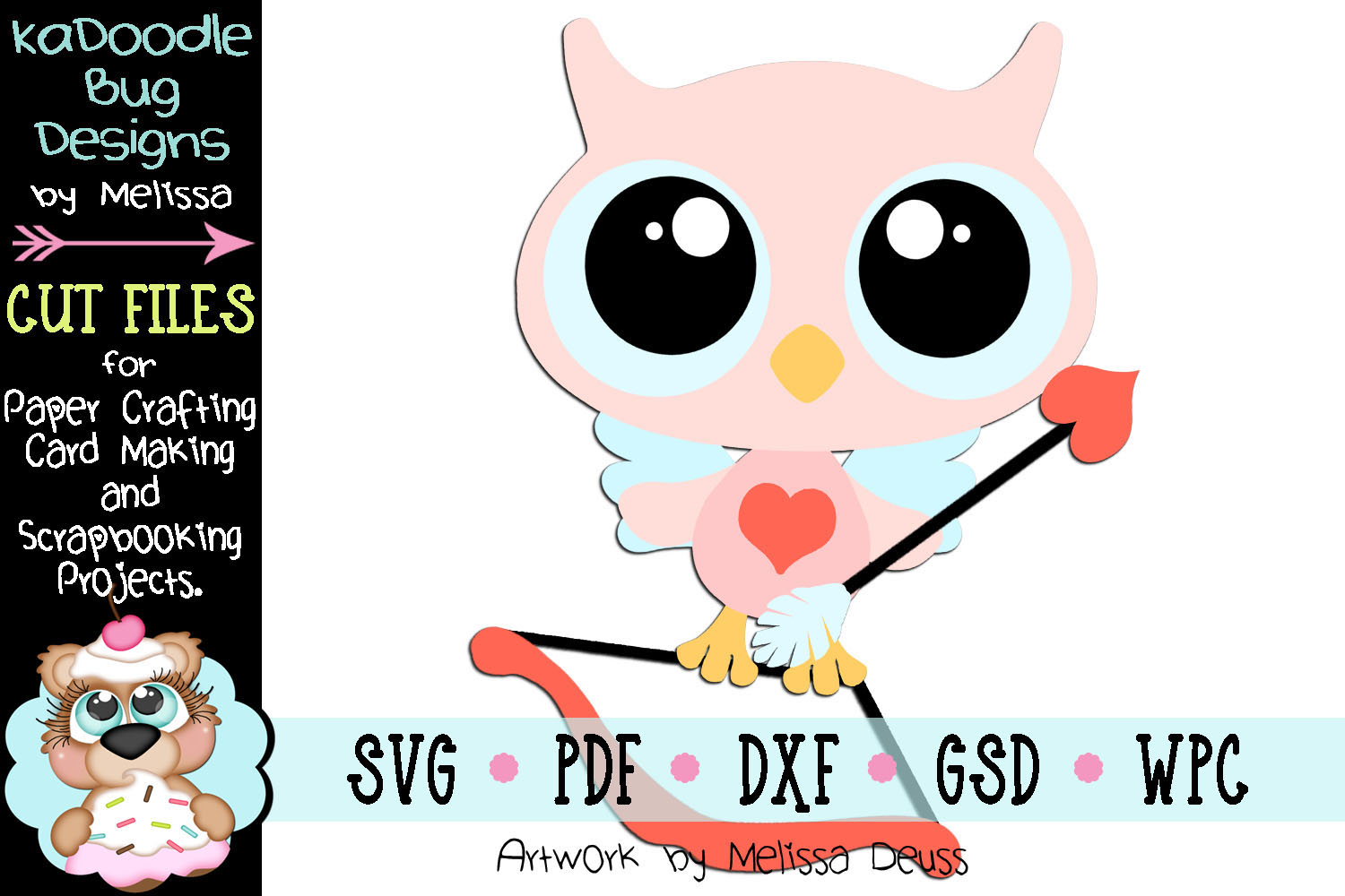 Valentine Cupid Owl Cut File - SVG PDF DXF GSD WPC example image 1