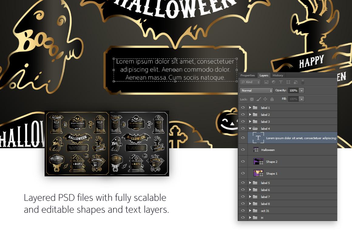 Halloween Design Golden Labels Set example image 3