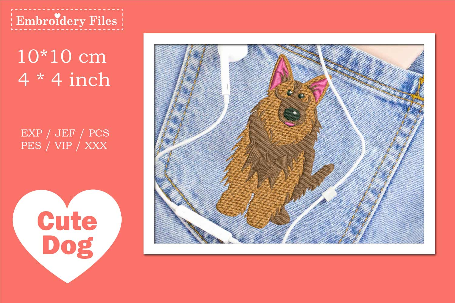 Cute Shepherd Dog - Embroidery File example image 2