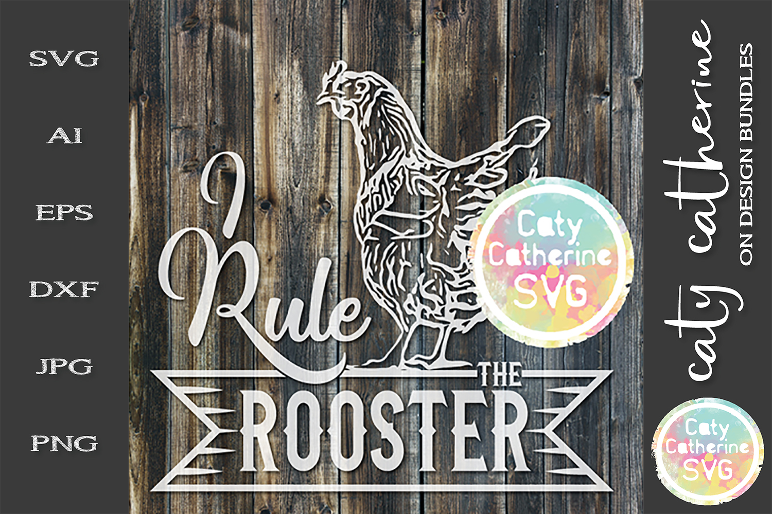 I Rule The Roost I Rule The Rooster Couples Matching SVG example image 2