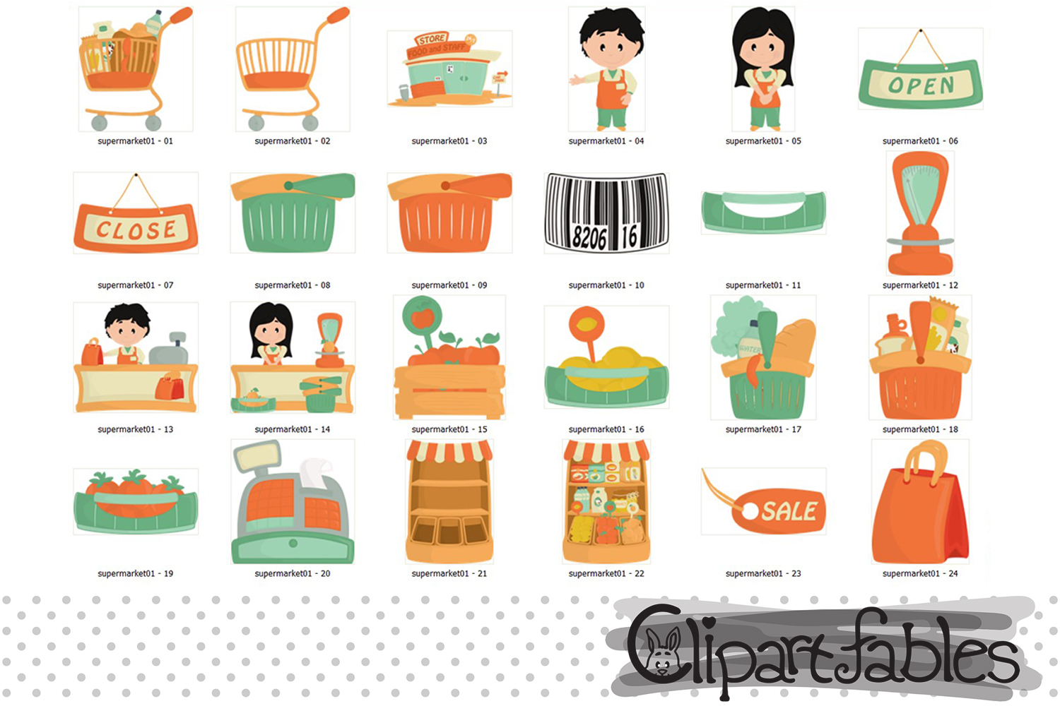 Cute SUPERMARKET clipart, Grocery clipart, Shop art- INSTANT example image 2