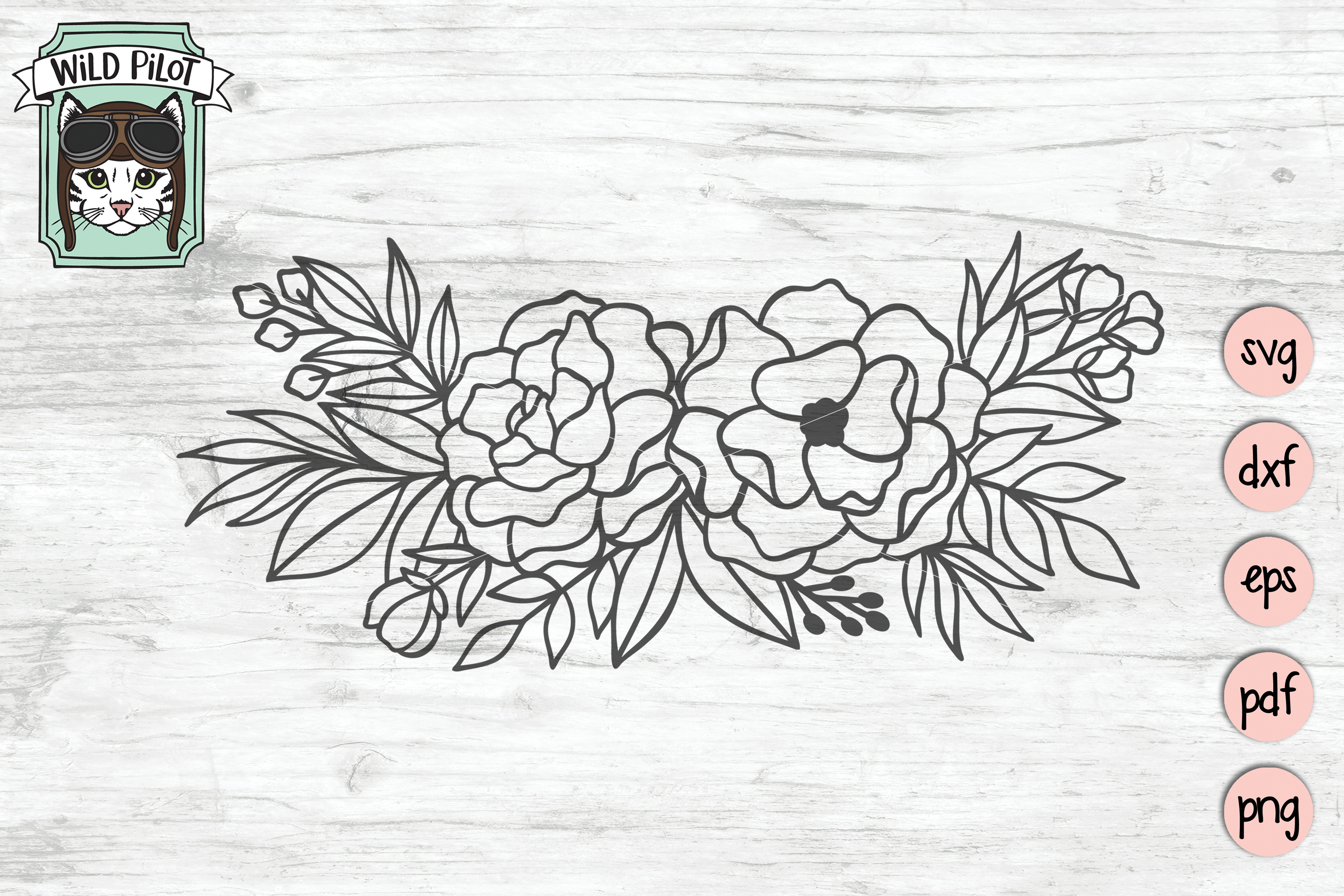 Flowers SVG file, Flower Border, Floral cut file, Roses example image 2