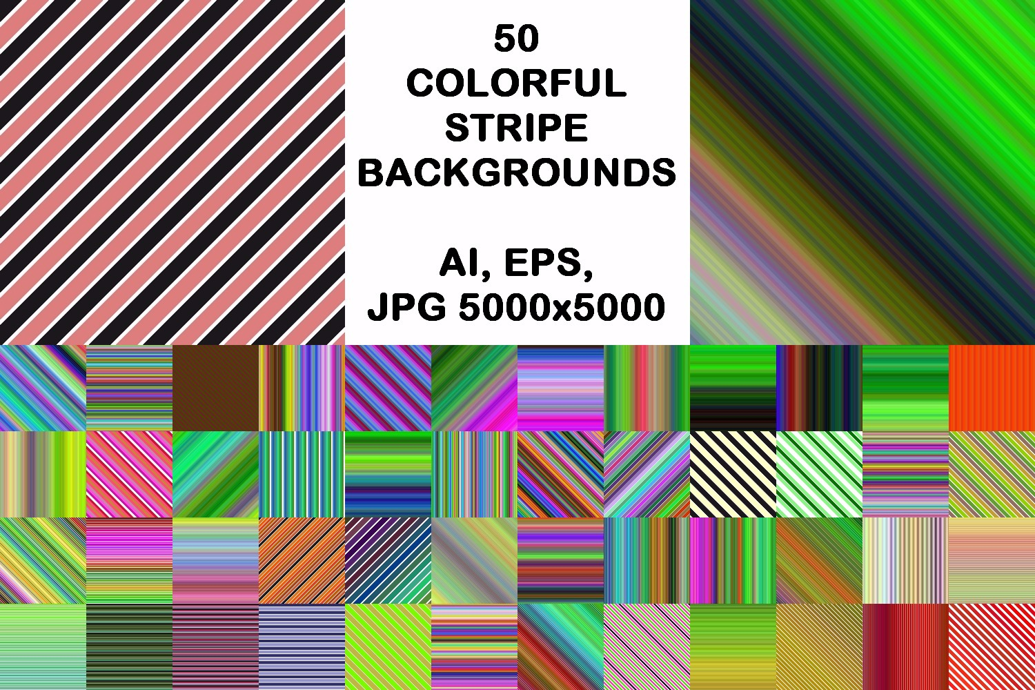 50 colorful stripe backgrounds (AI, EPS, JPG 5000x5000) example image 1