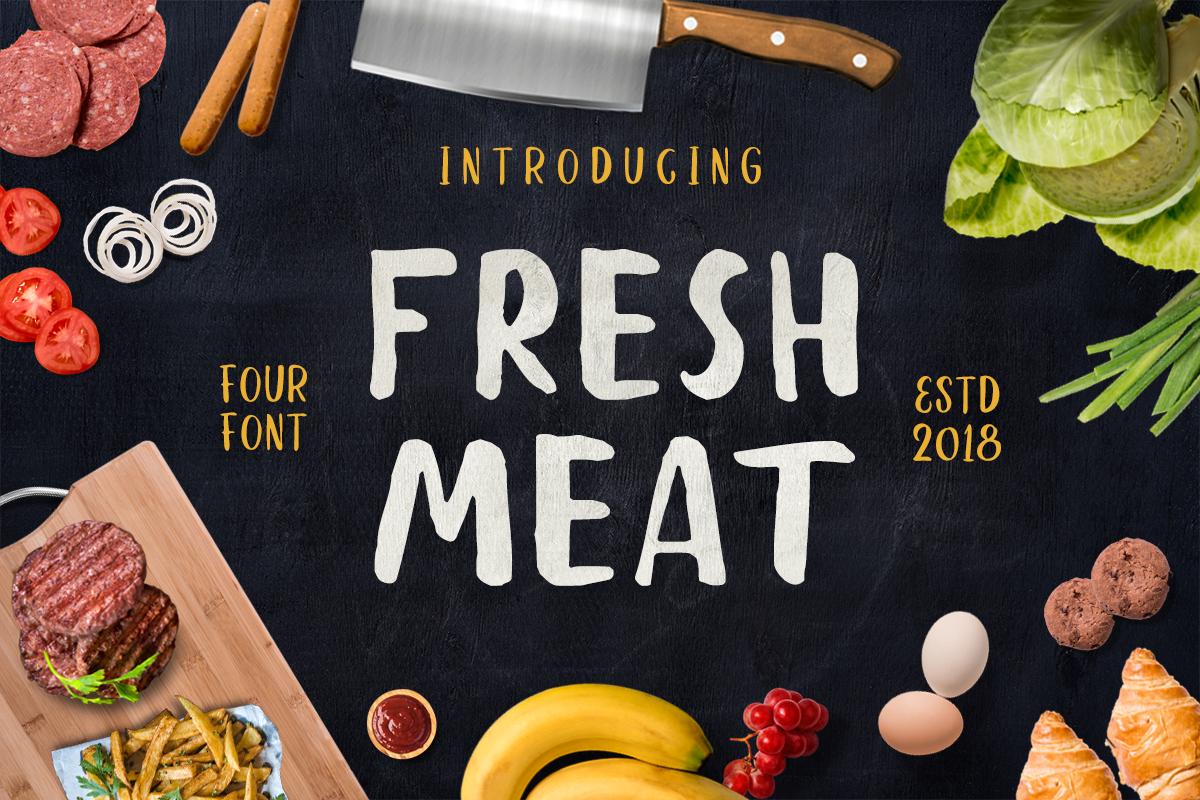 Fresh Meat 4 Font Pack + Bonu example image 1