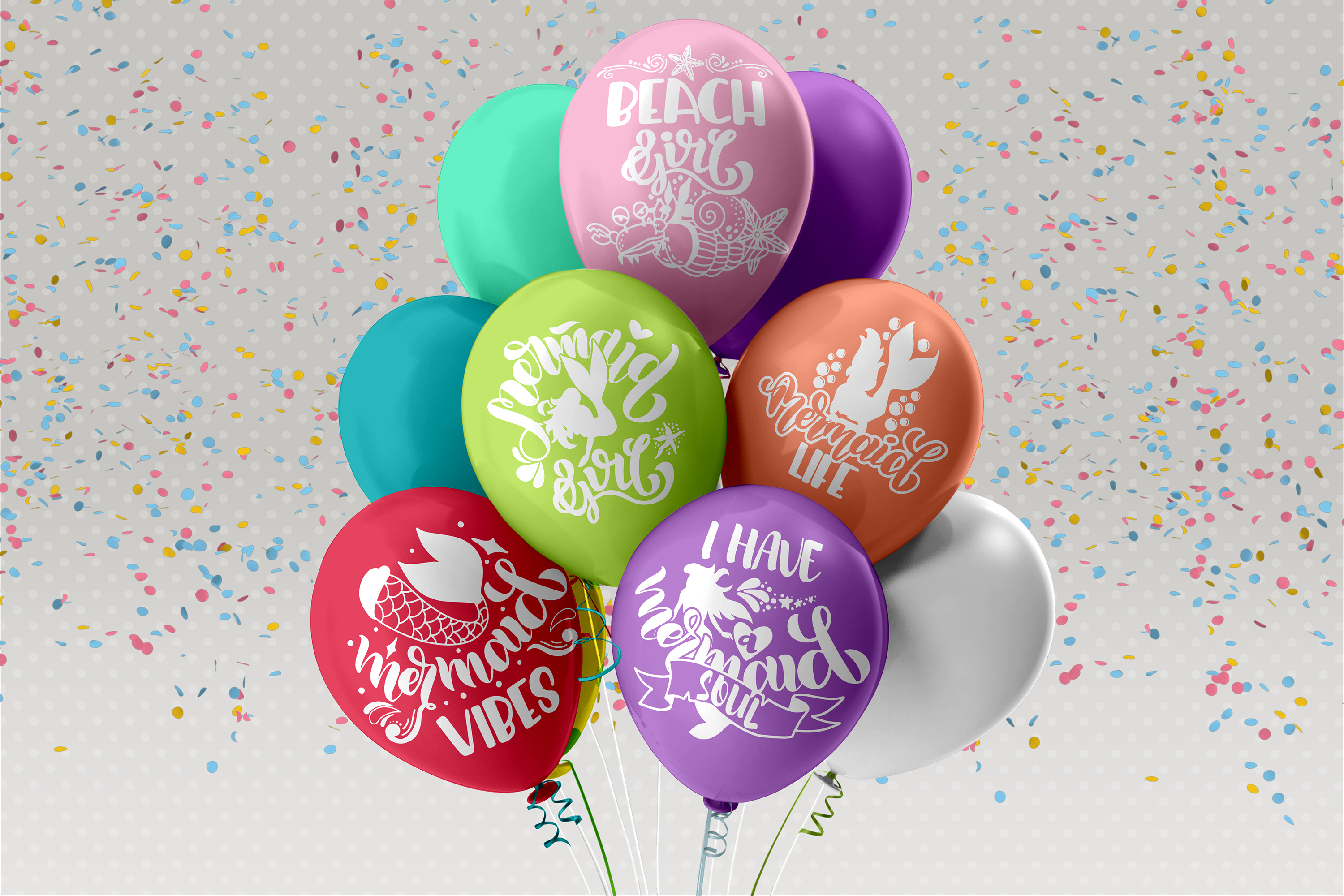Mermaid svg bundle Lettering quotes Beach Summer Foil quill example image 2
