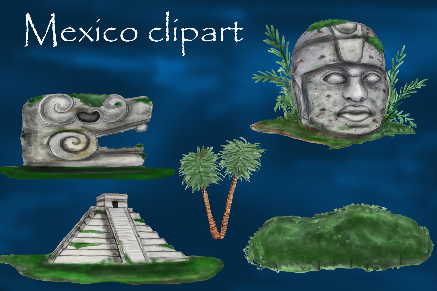 Mayan clipart, ancient civilizations of Mexico watercolor example image 7