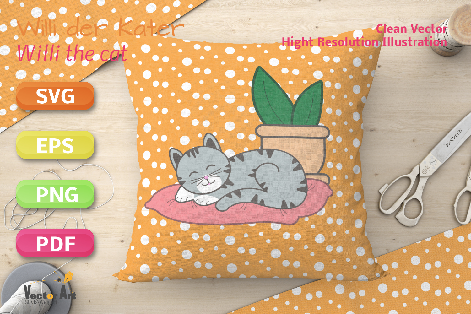 Sleeping Cat on Pillow with Succulent - File for Crafters example image 5