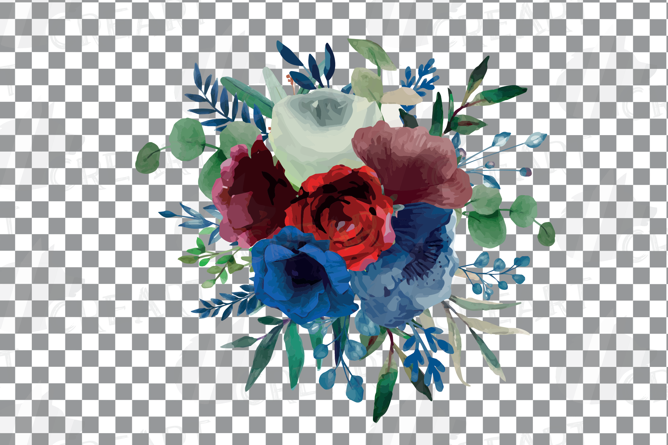 Colorful navy and burgundy floral watercolor wedding bouquet example image 6