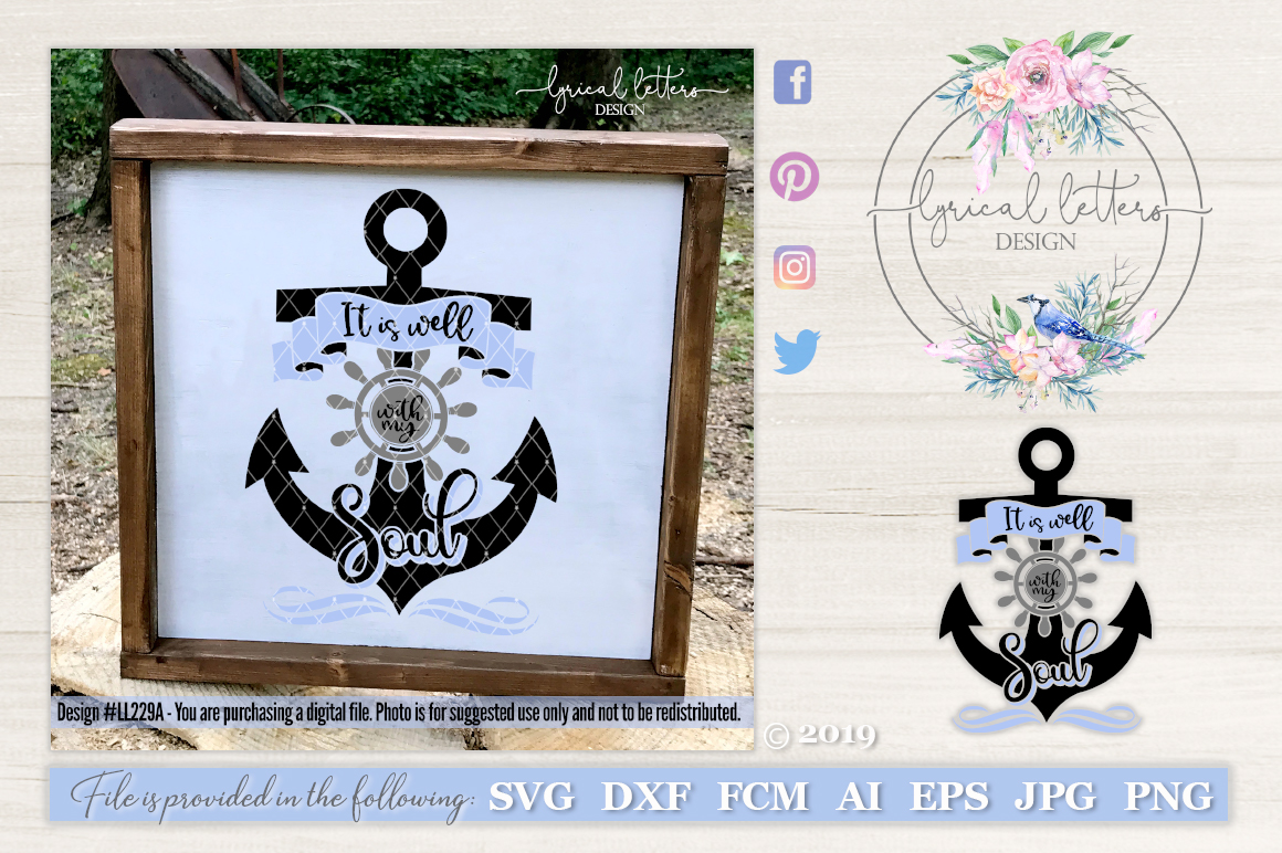 It Is Well With My Soul Anchor SVG Cut File LL229A example image 1
