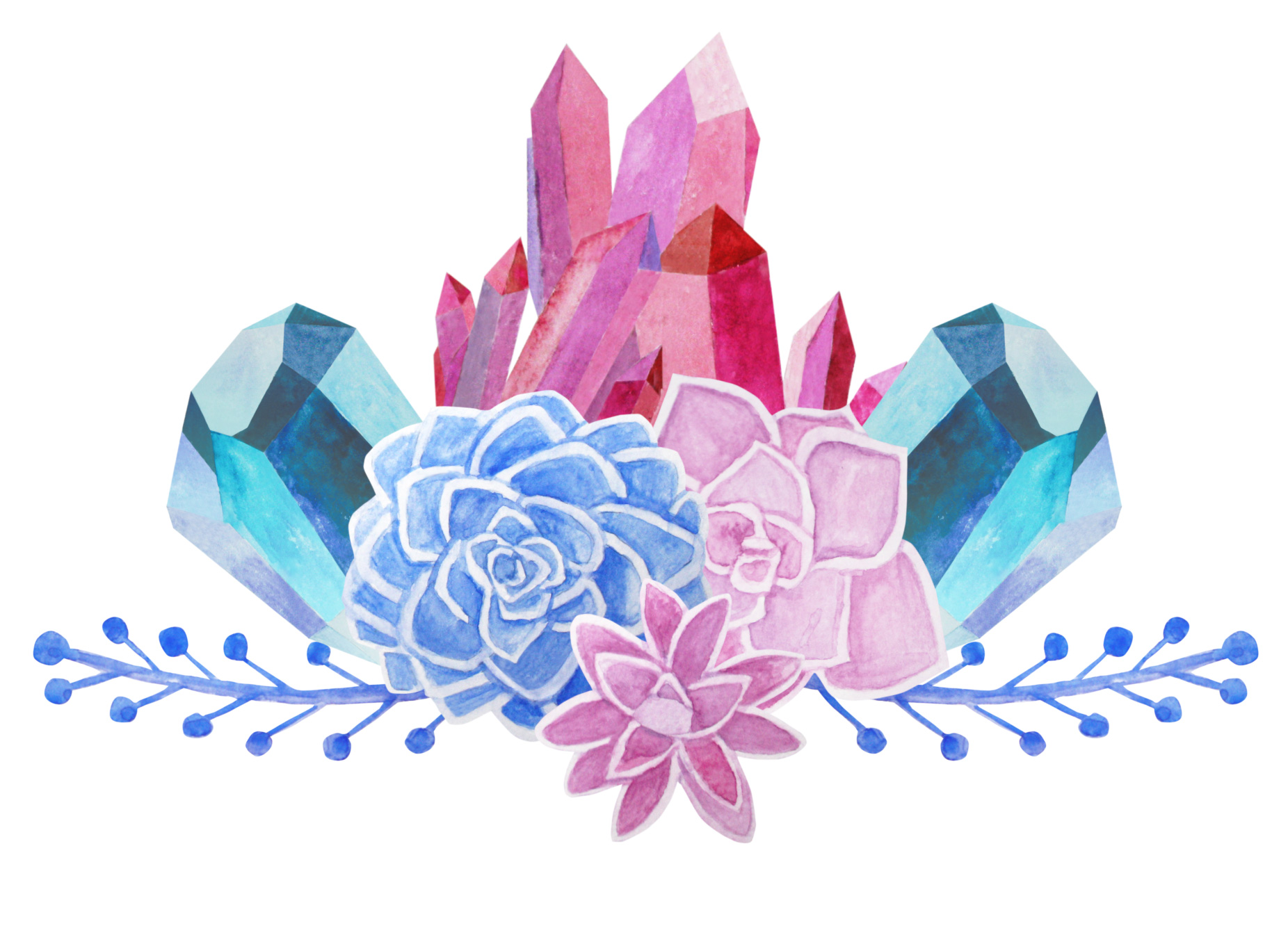 Succulents and Crystals Watercolor example image 3