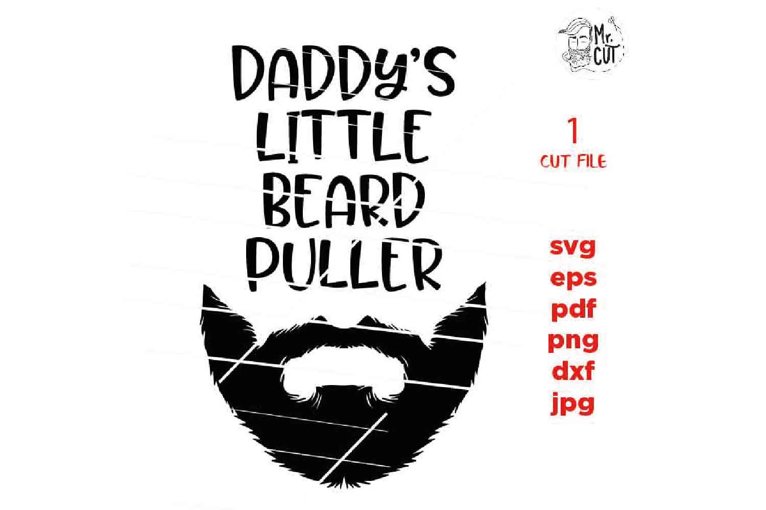 daddy's little beard puller svg, beard Svg, baby bodysuit sv example image 2