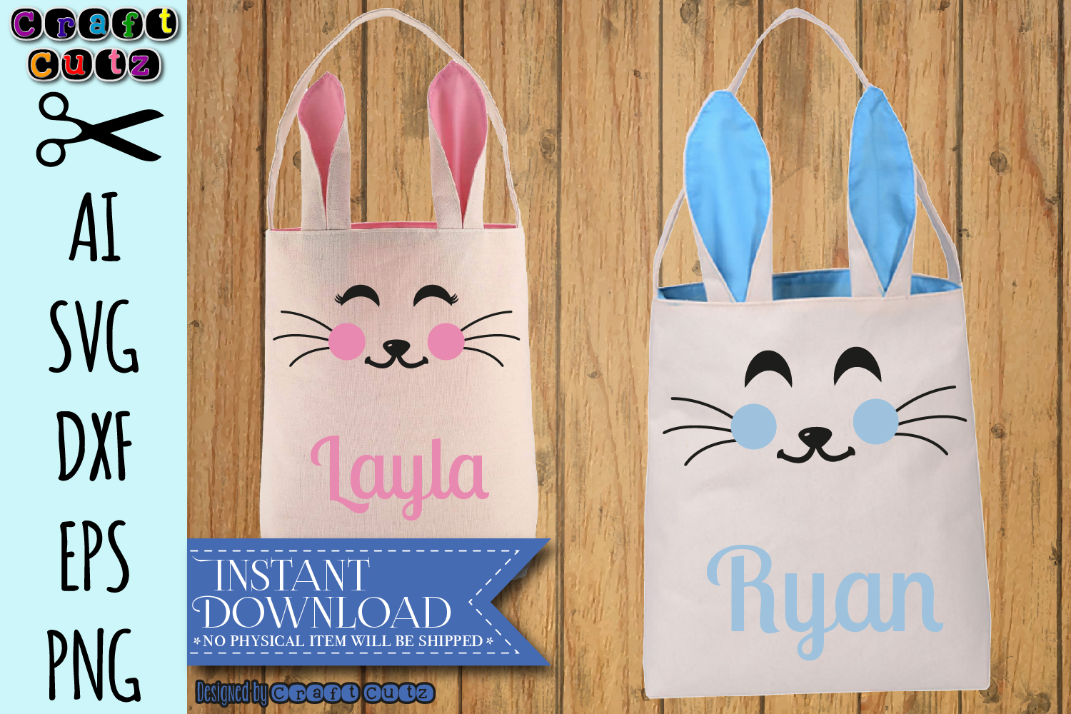 Bunny Bag svg, Cute Bunny Face svg, Rabbit Face SVG example image 2