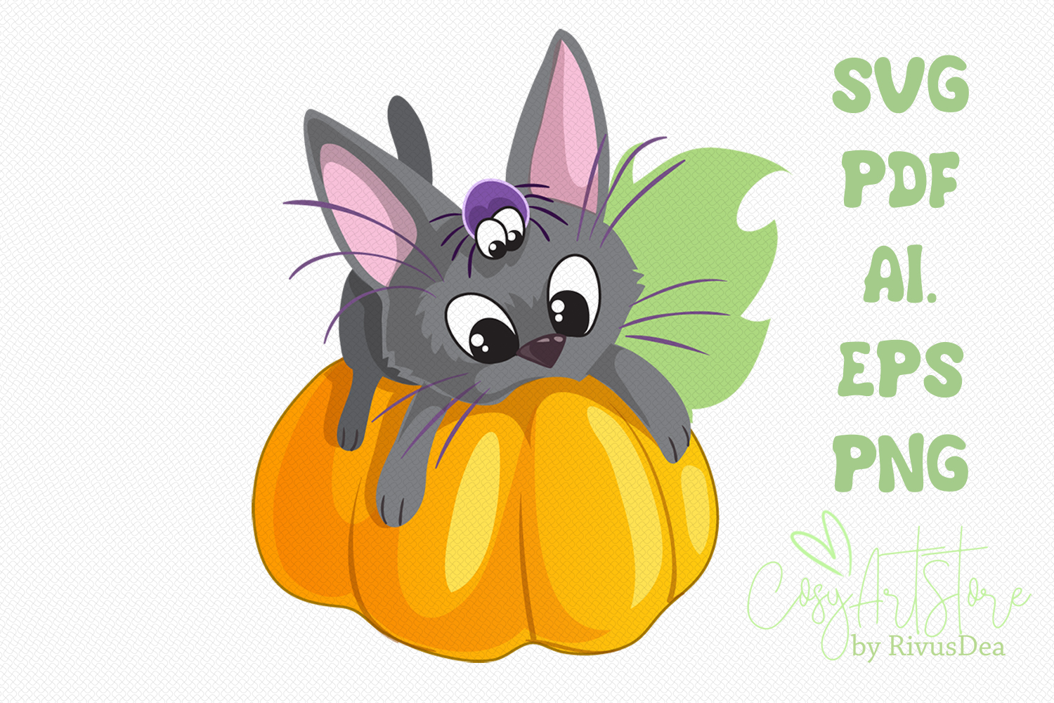 Black kitten on Pumpkin SVG download, Cute cat PNG example image 1