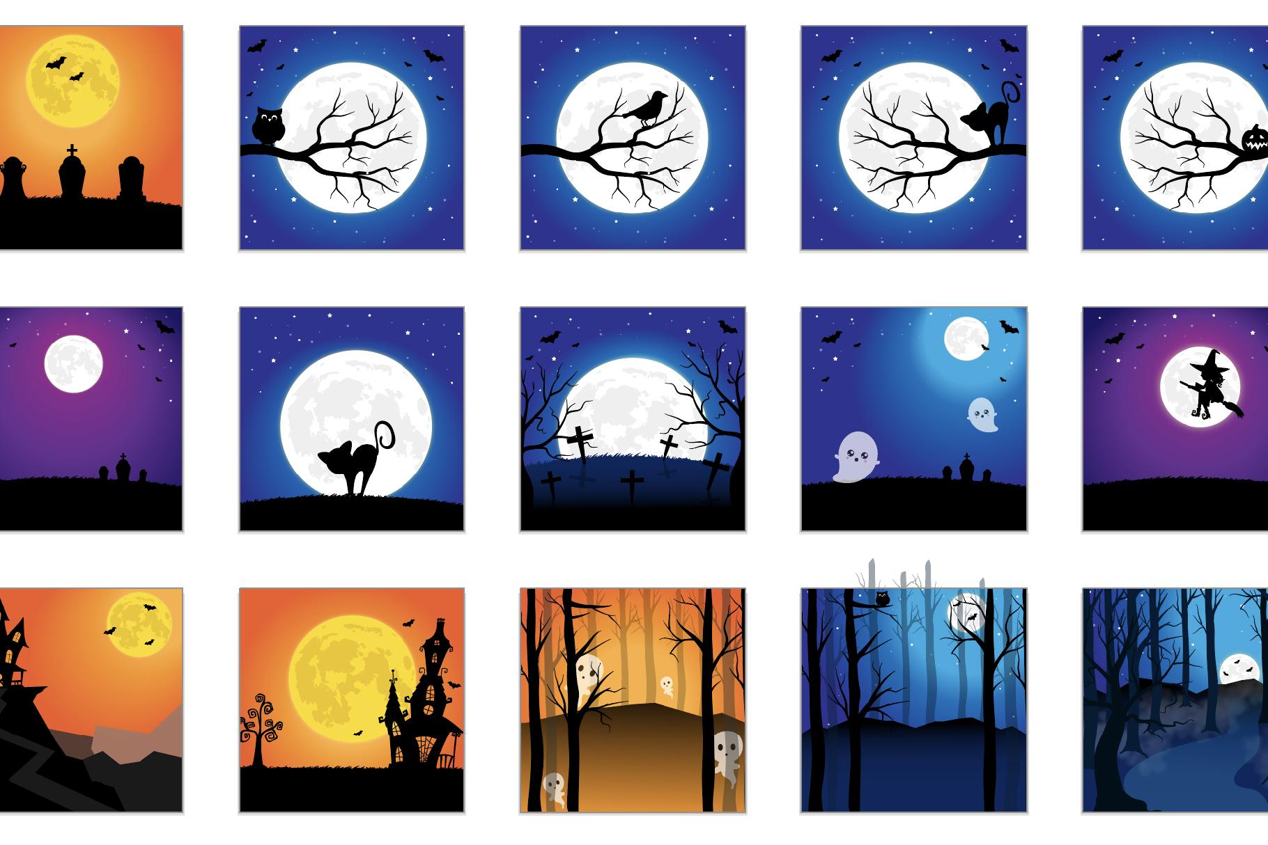 60 SCENES/BACKGROUNDS - Halloween Unicorn Bundle - 98OFF example image 2