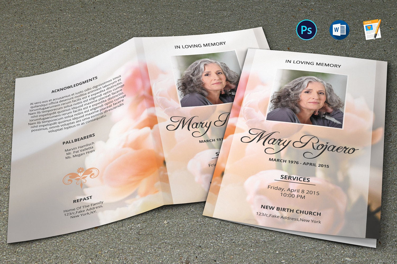 Floral Funeral Program Template, Photoshop & MsWord Template example image 1
