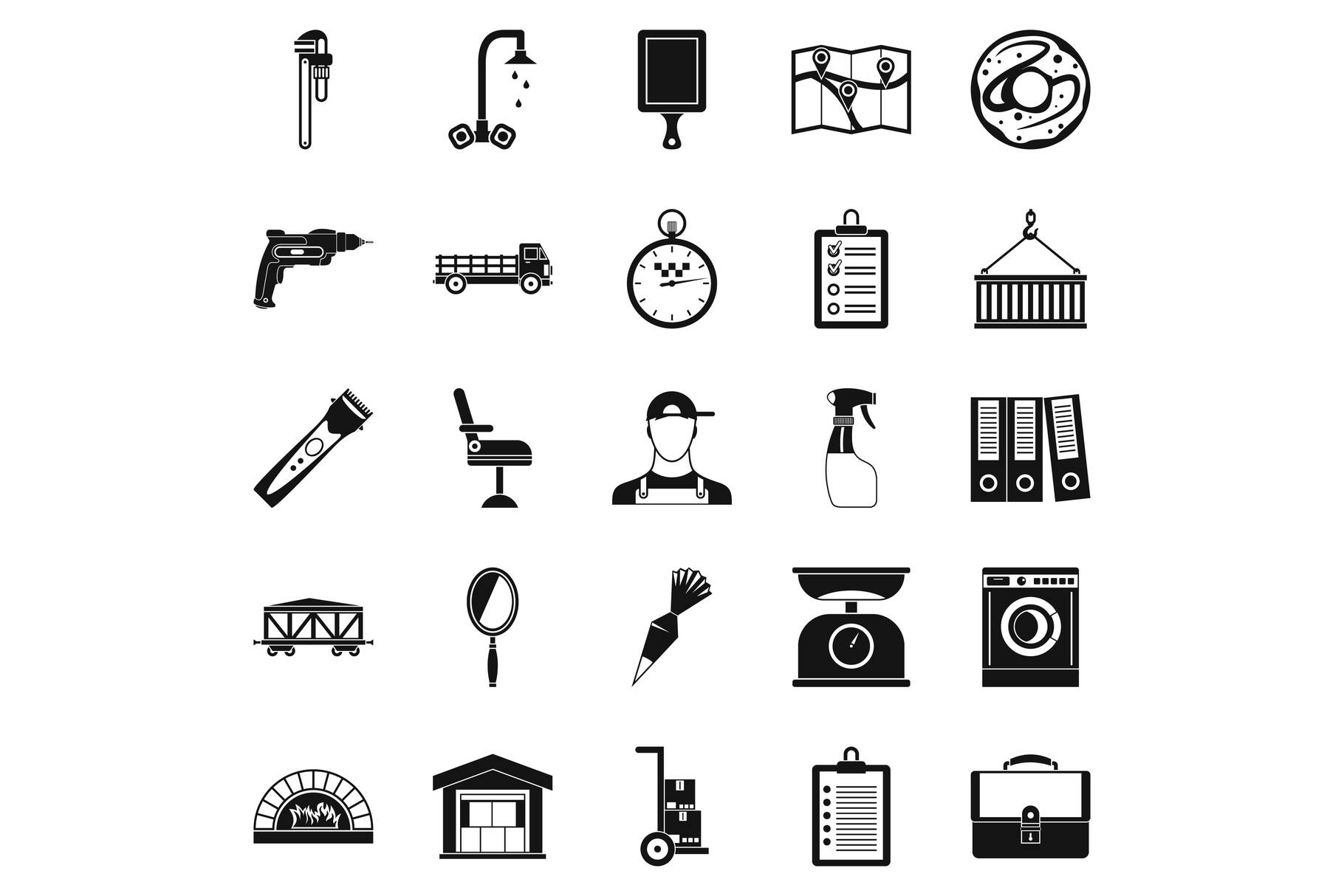 Warehouses icons set, simple style example image 1