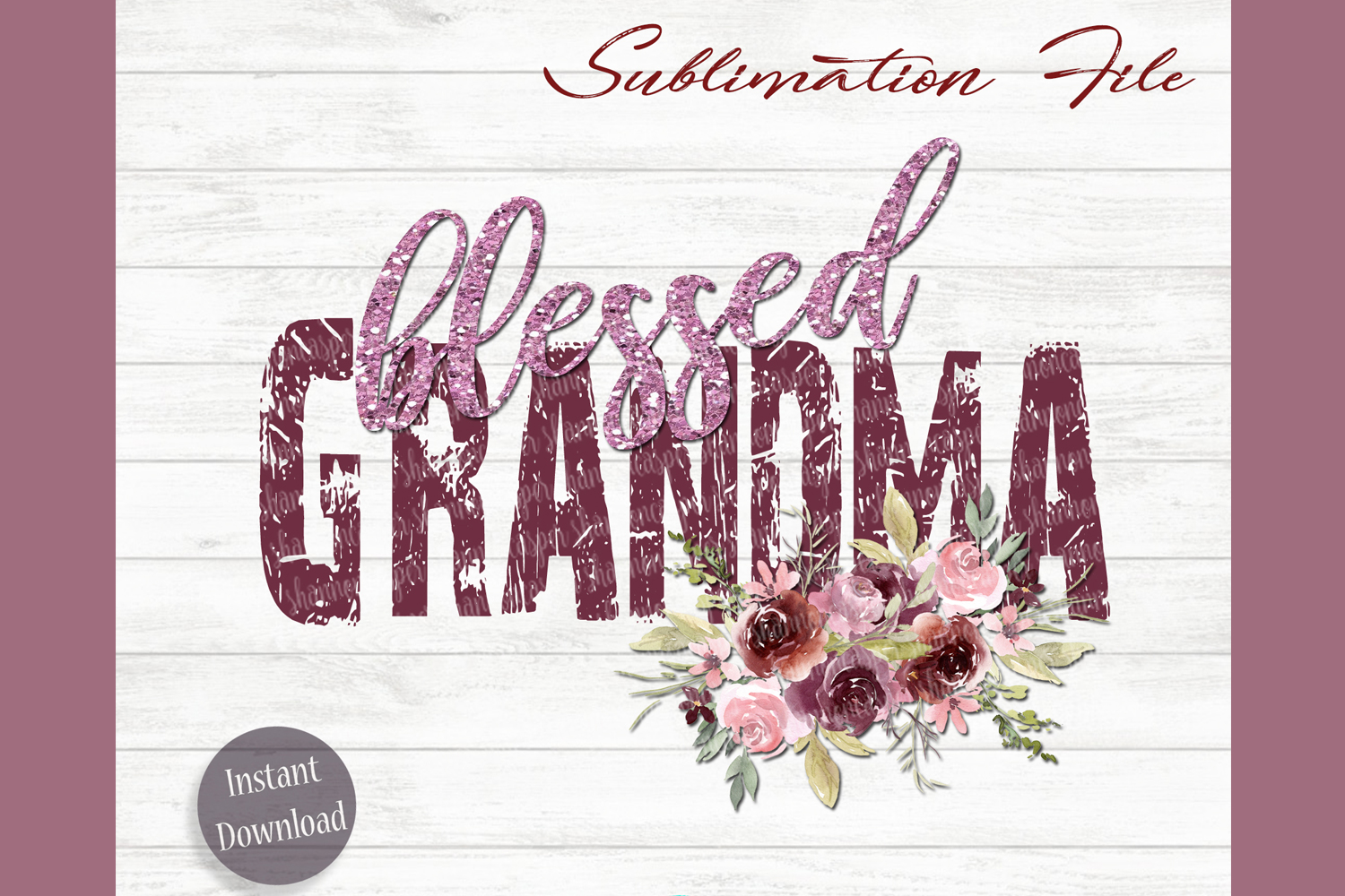Blessed Grandma Png File  Sublimation File example image 1