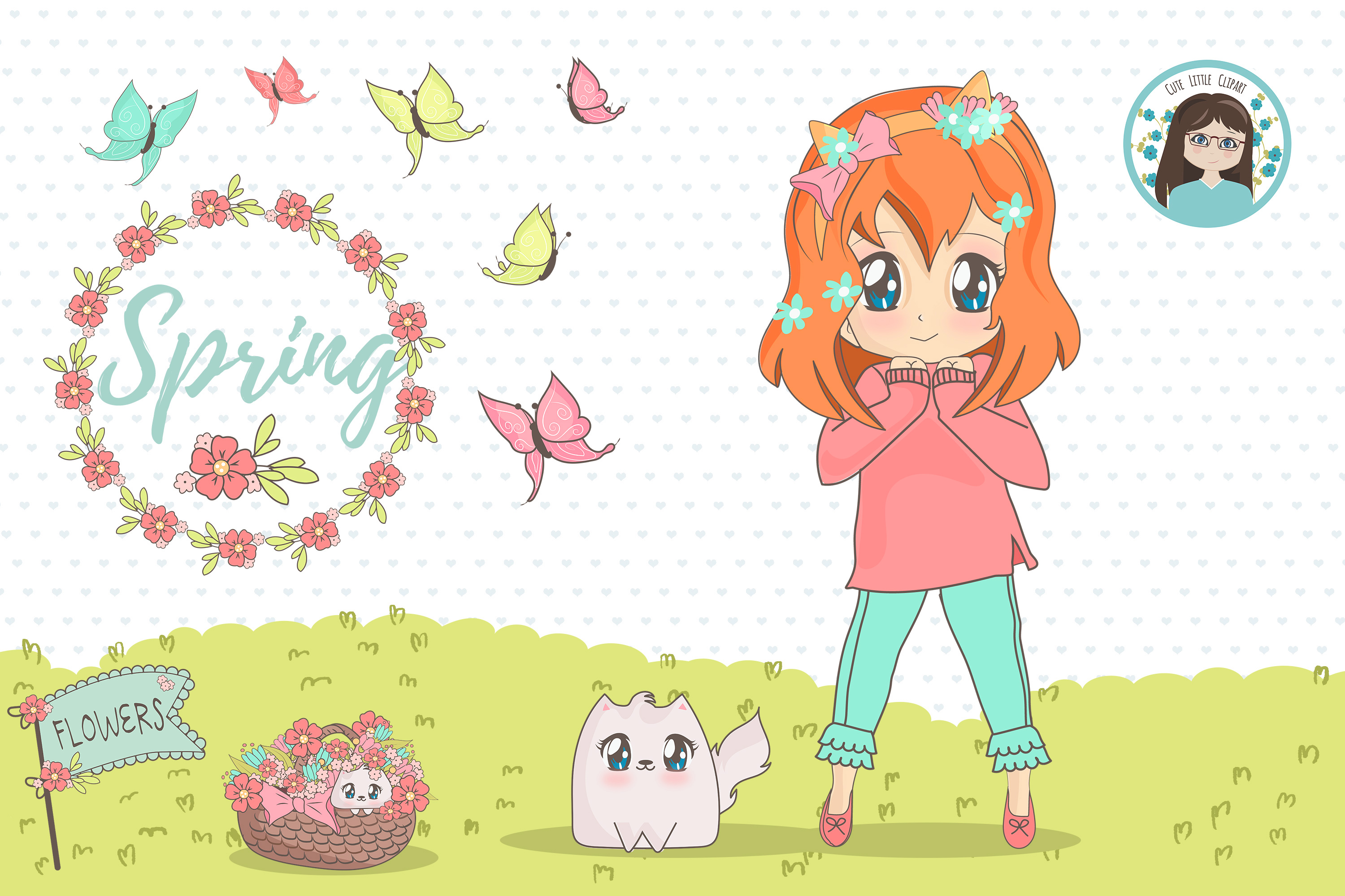Spring chibi characters example image 3