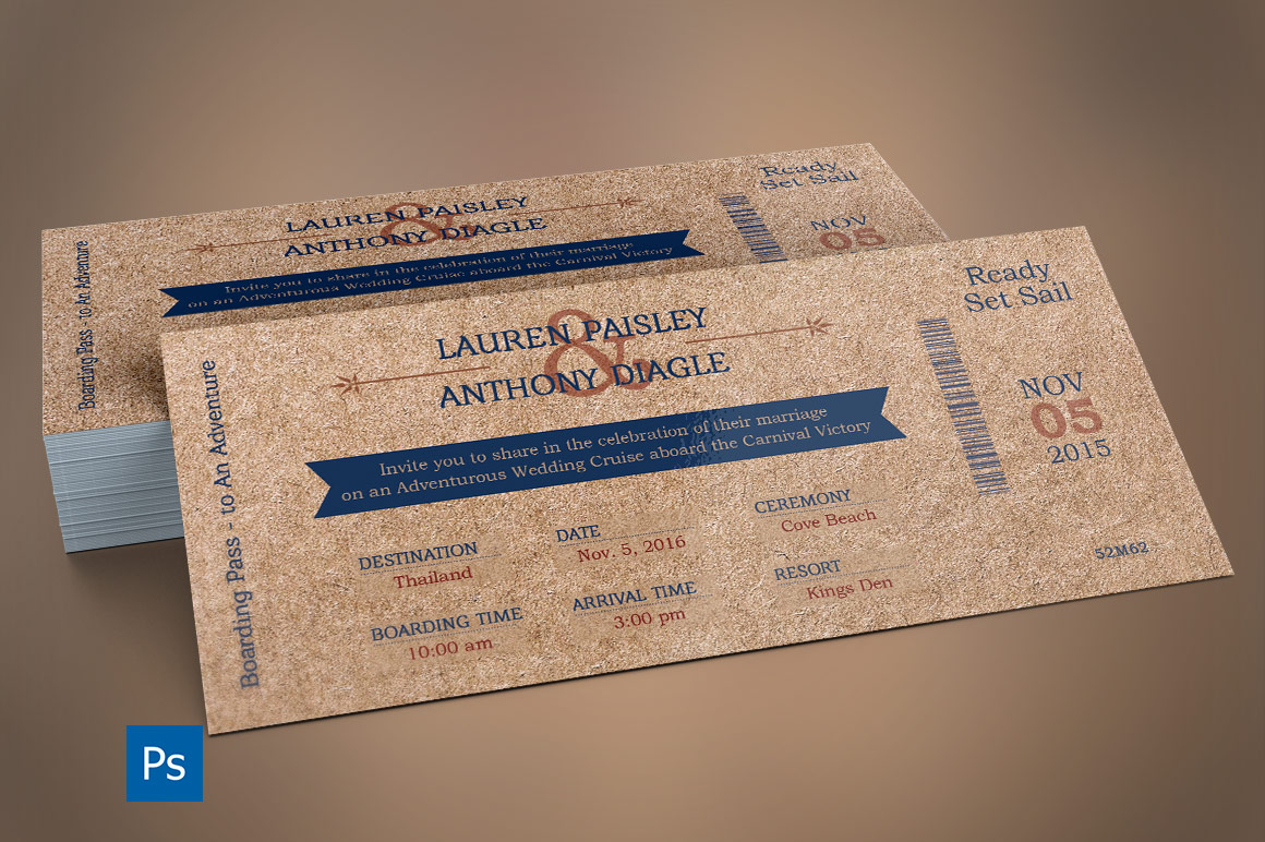 Cardboard Boarding Pass Invitation Template example image 4