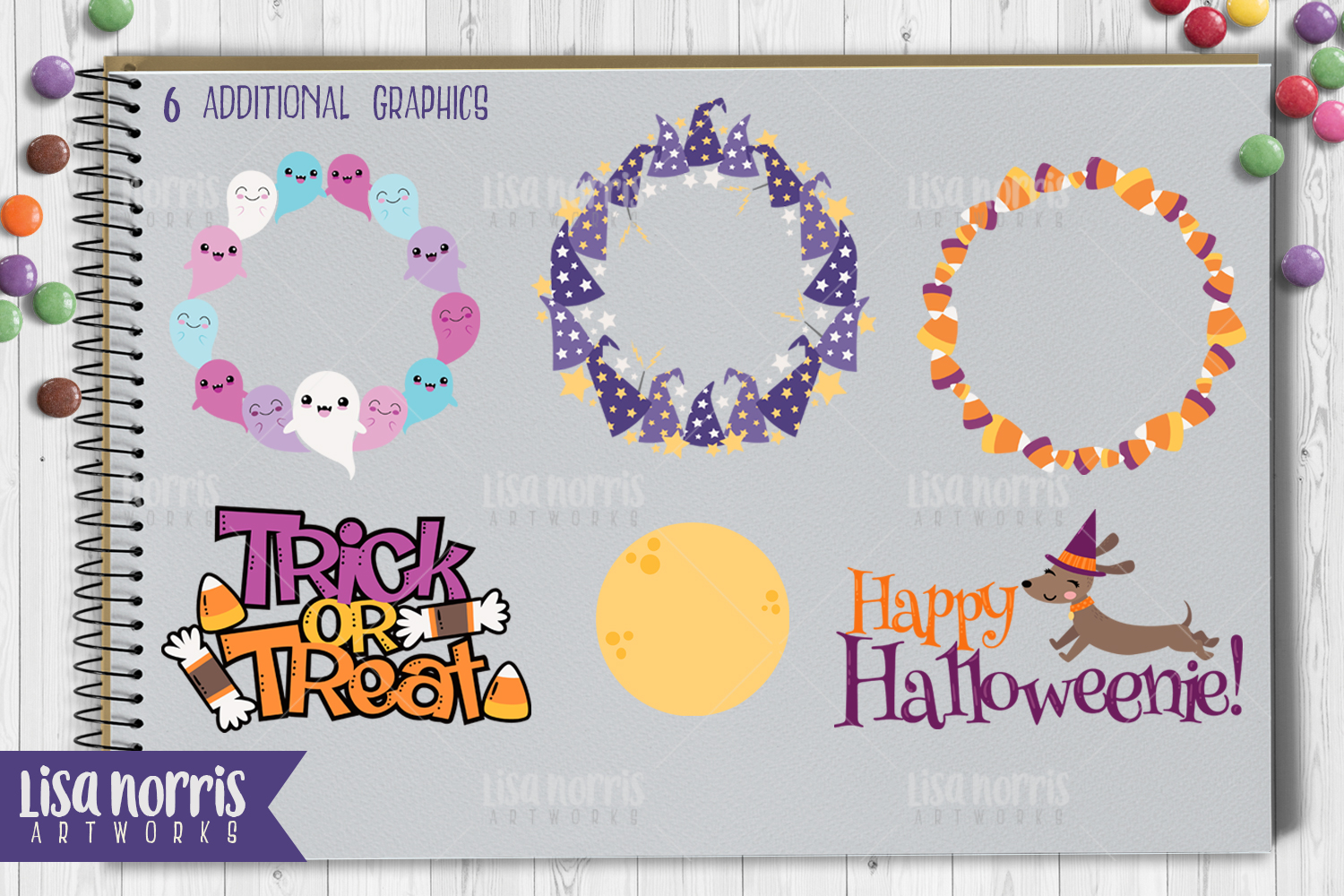 Halloween Friends Clip Art, Patterns, & SVG Cutting Files example image 4