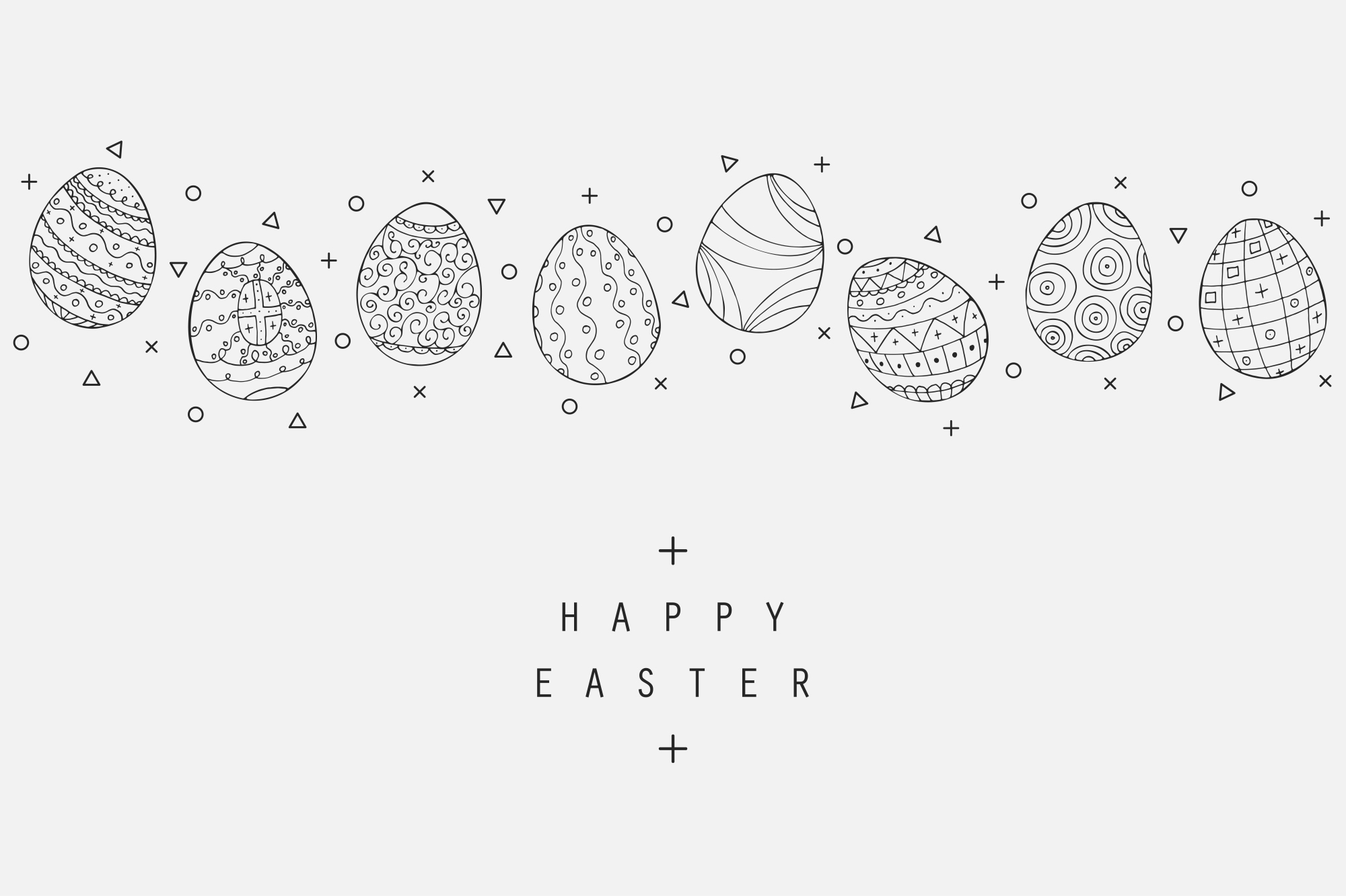 Hand drawn Easter eggs colletion. example image 1