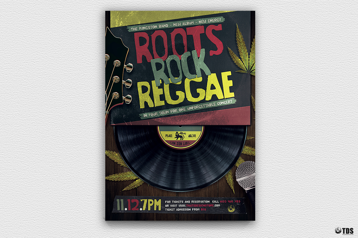 Roots Rock Reggae Flyer Template example image 3