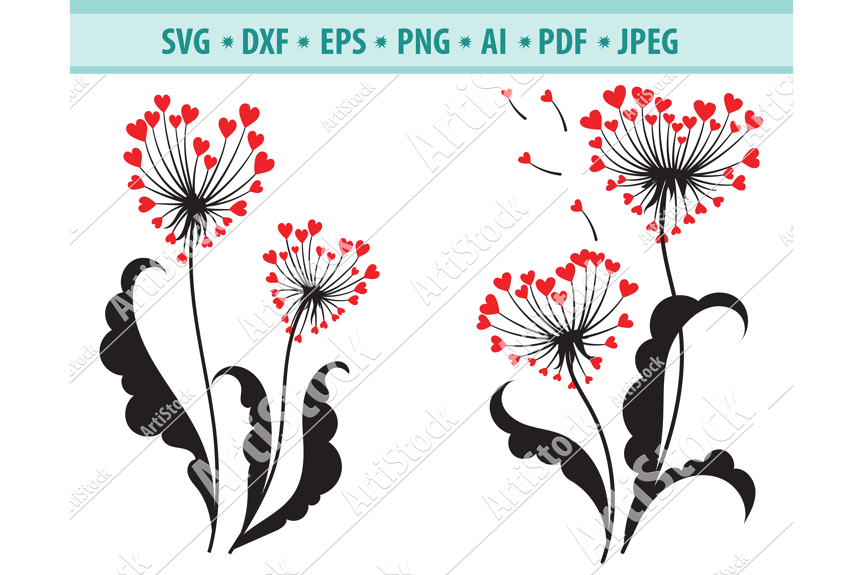 Dandelion with heart SVG, Nature Png, Garden Plant Dxf, Eps example image 1