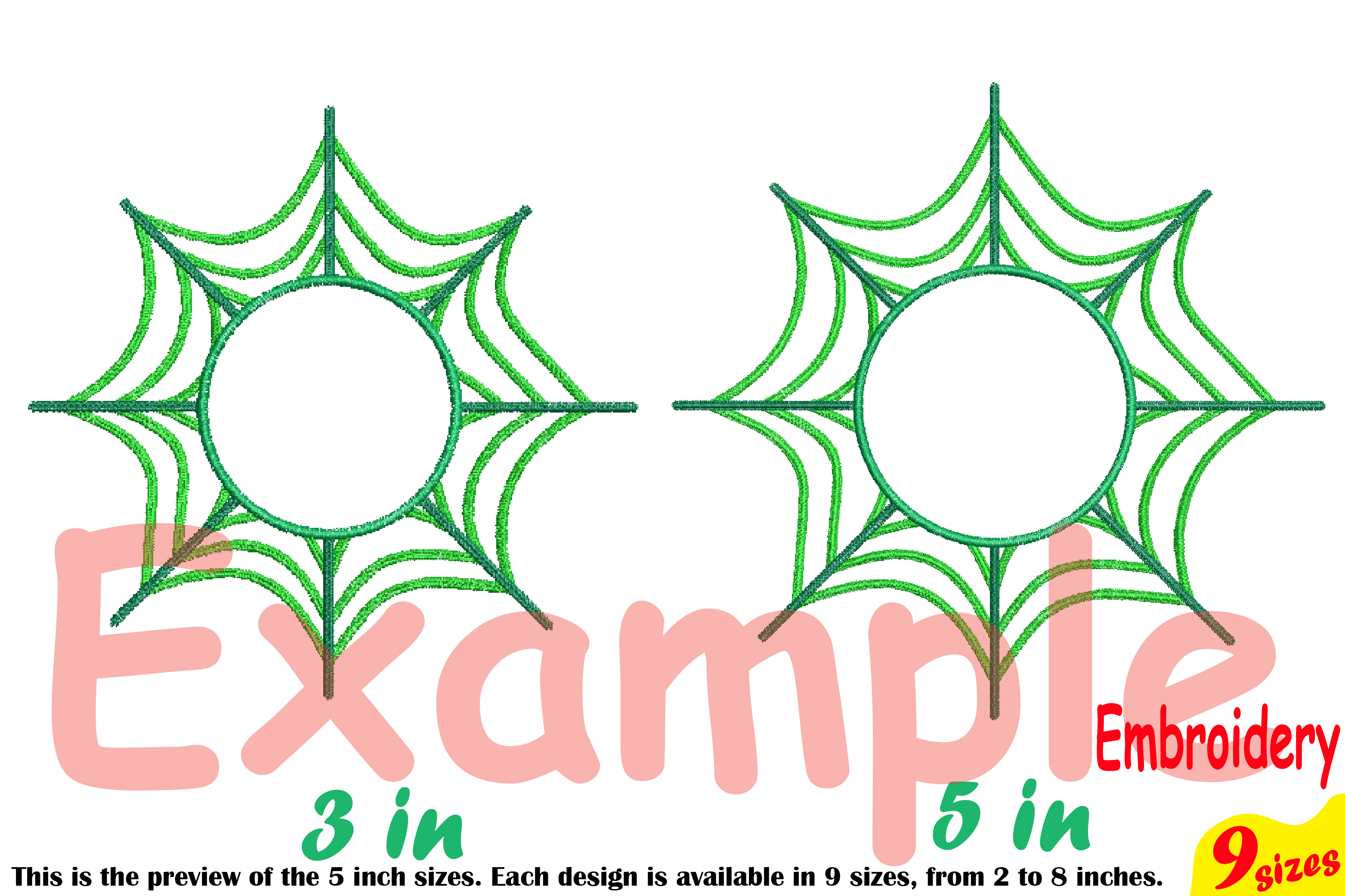Spider Web Circle Embroidery Design Machine Instant Download Commercial Use digital Outline Frame Halloween Spiderweb 208b example image 4