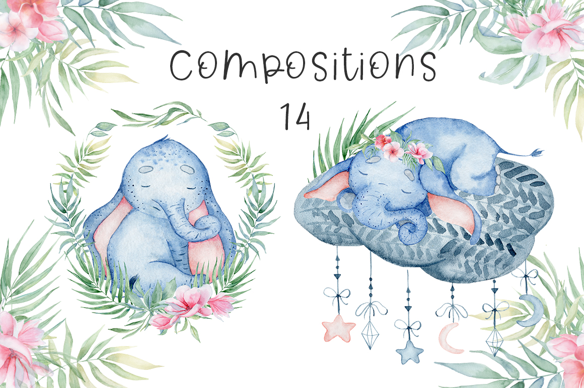 Lovely Elephants Watercolor set animals clipart example image 10
