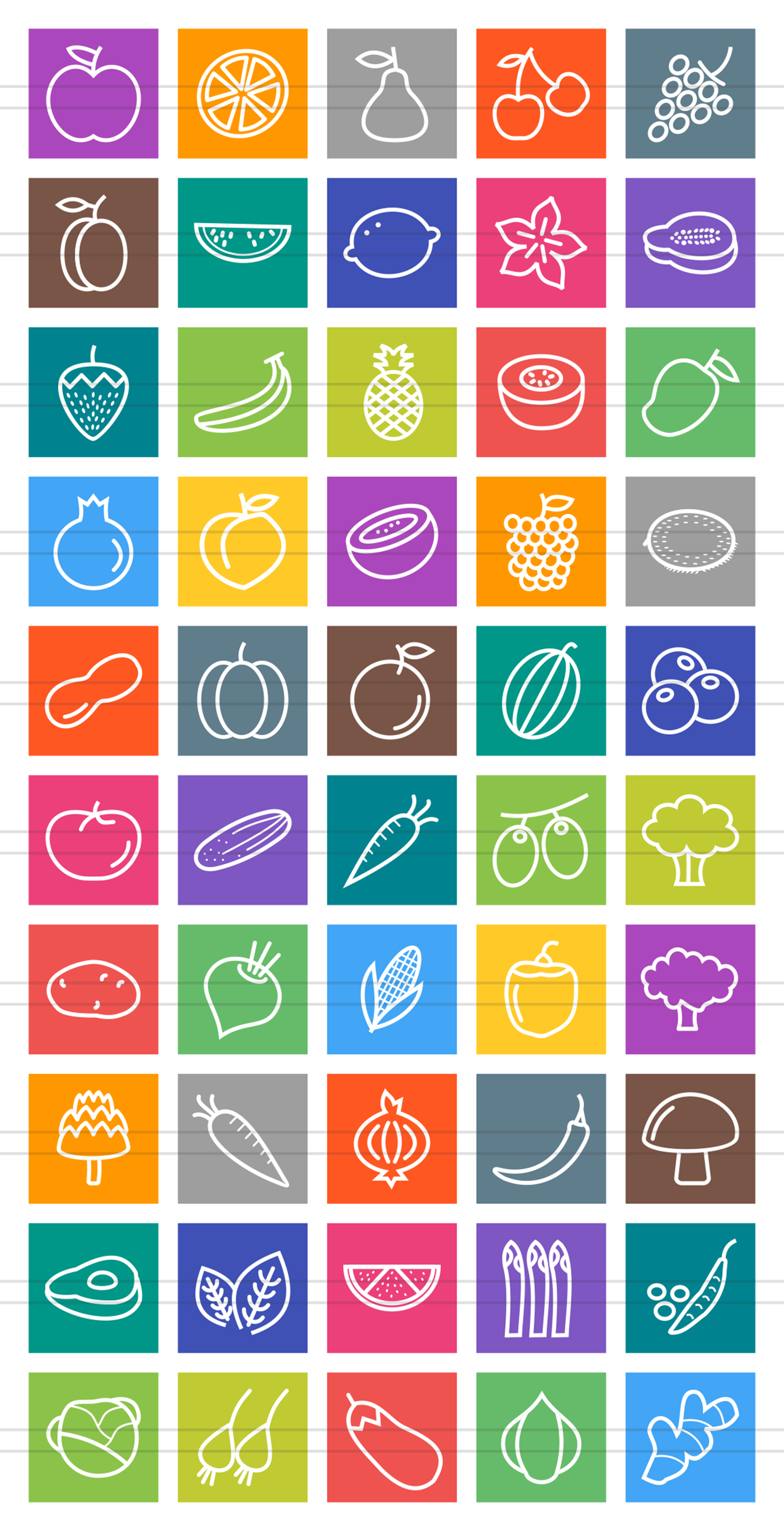 50 Fruits & Vegetables Line Multicolor B/G Icons example image 2