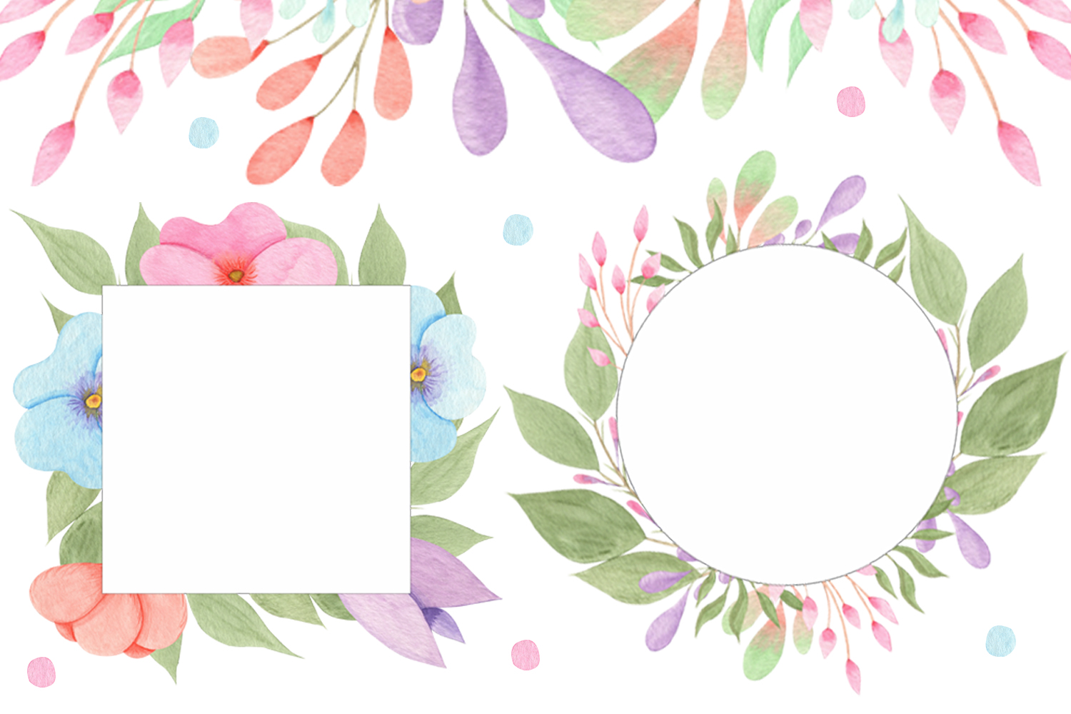 Watercolor Flowers and Leaves example image 3