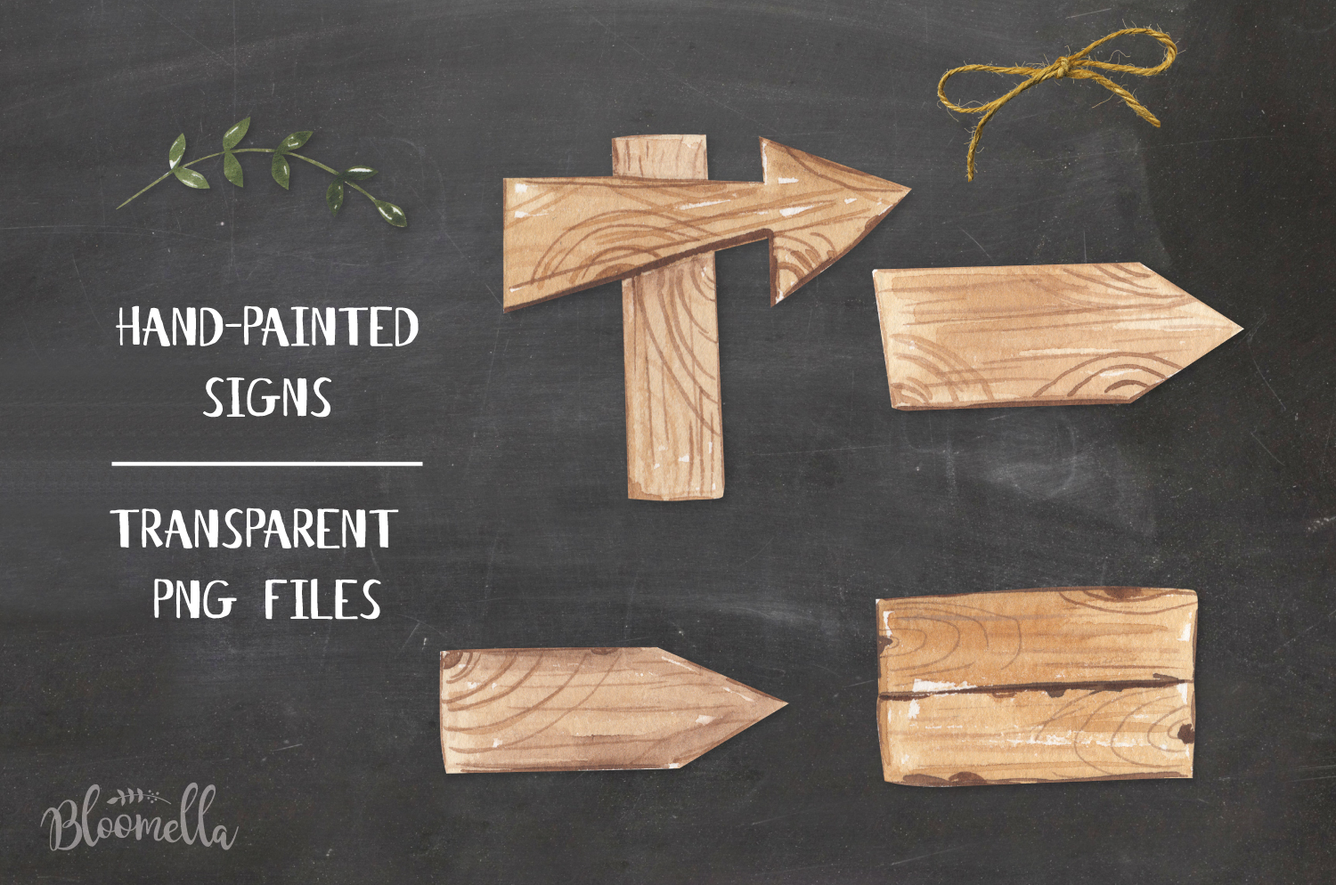 Watercolor Wood Signs Elements Woodland Wedding Leaves example image 2