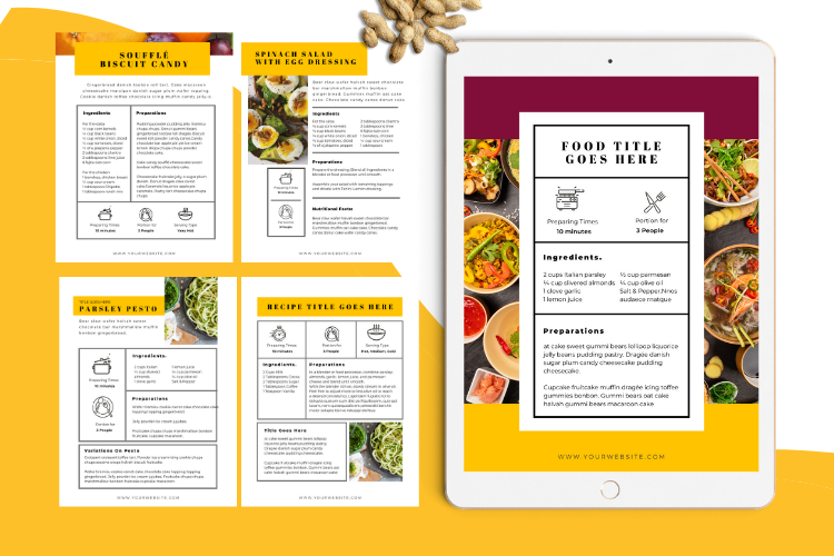 Food Lovers Recipe and Cookbook Canva Template Ebook example image 6