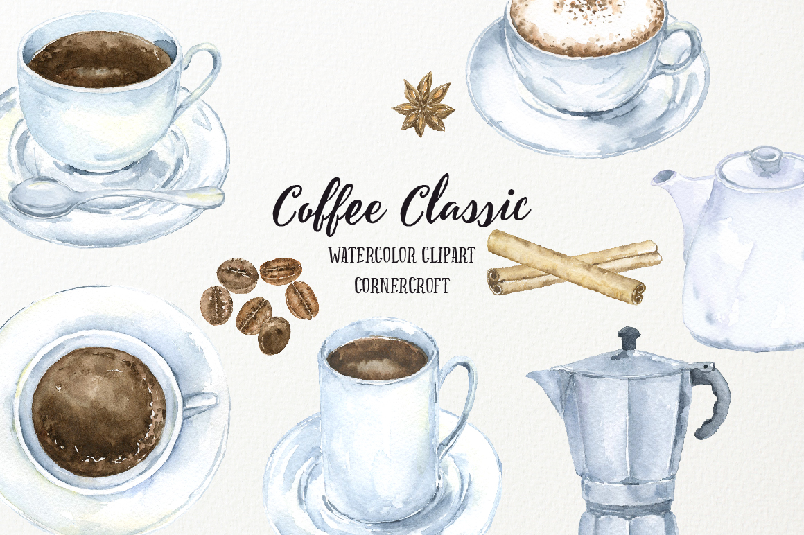 Watercolor Coffee Classic example image 1