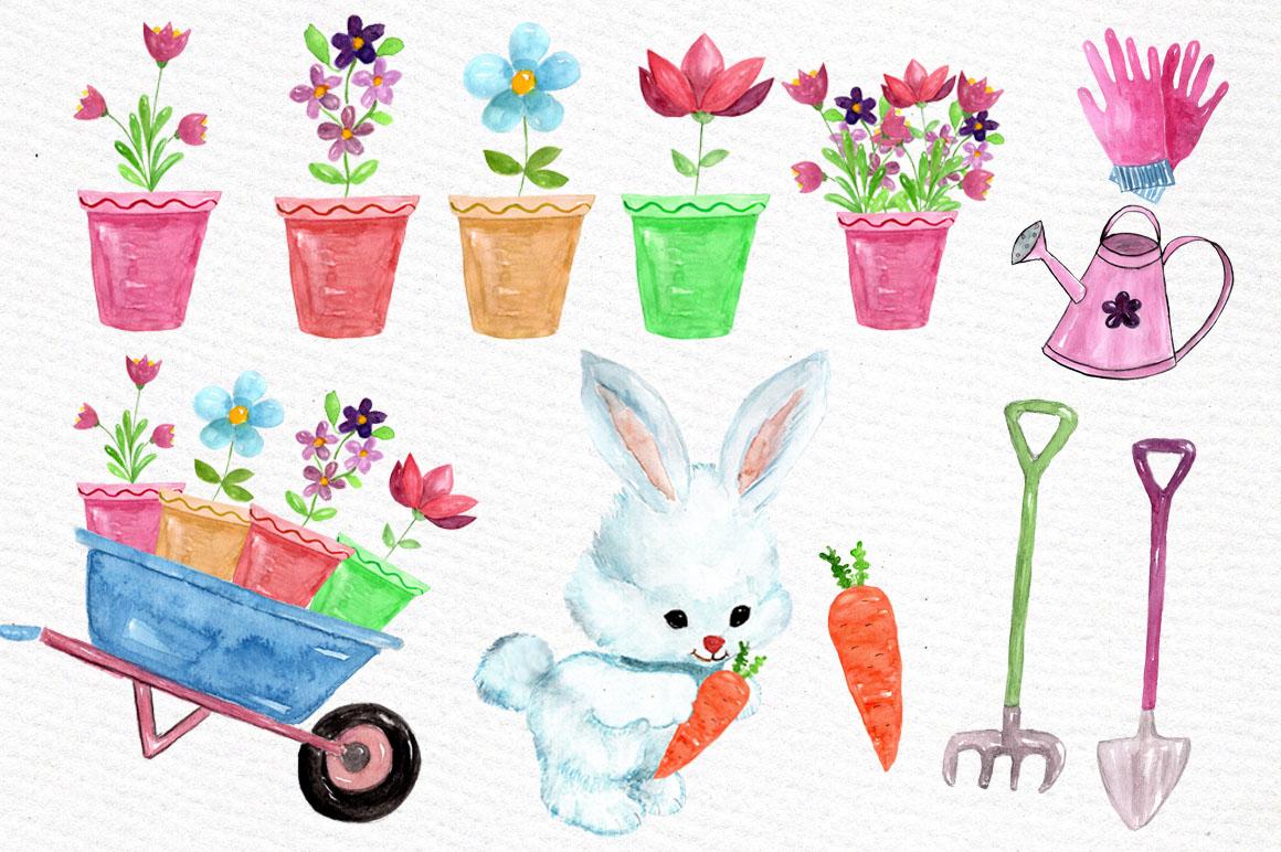 Watercolor garden clipart example image 2