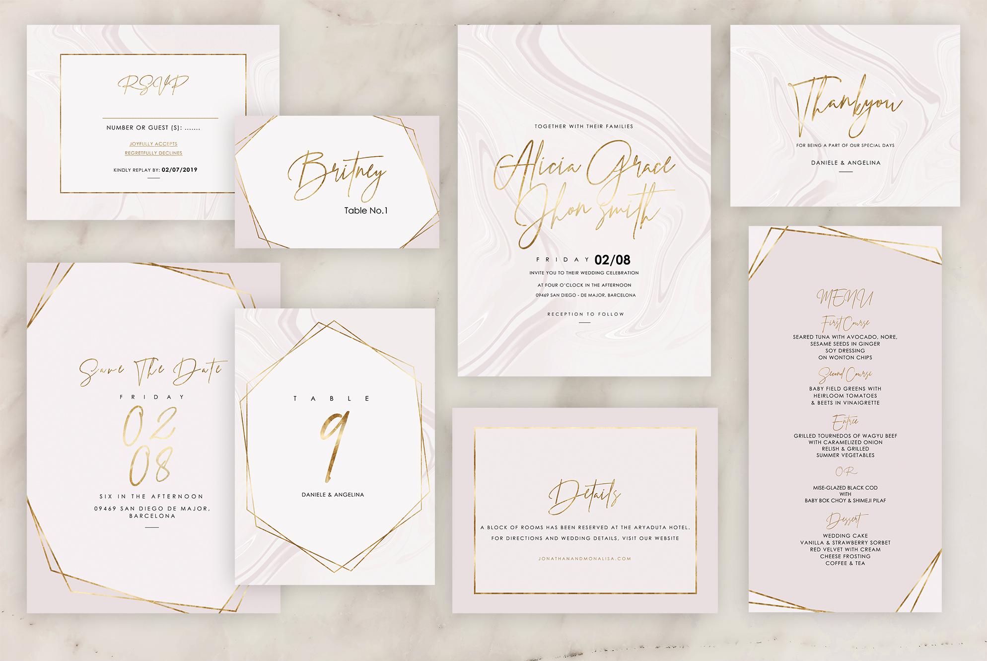Rose Marble Wedding Invitation example image 1