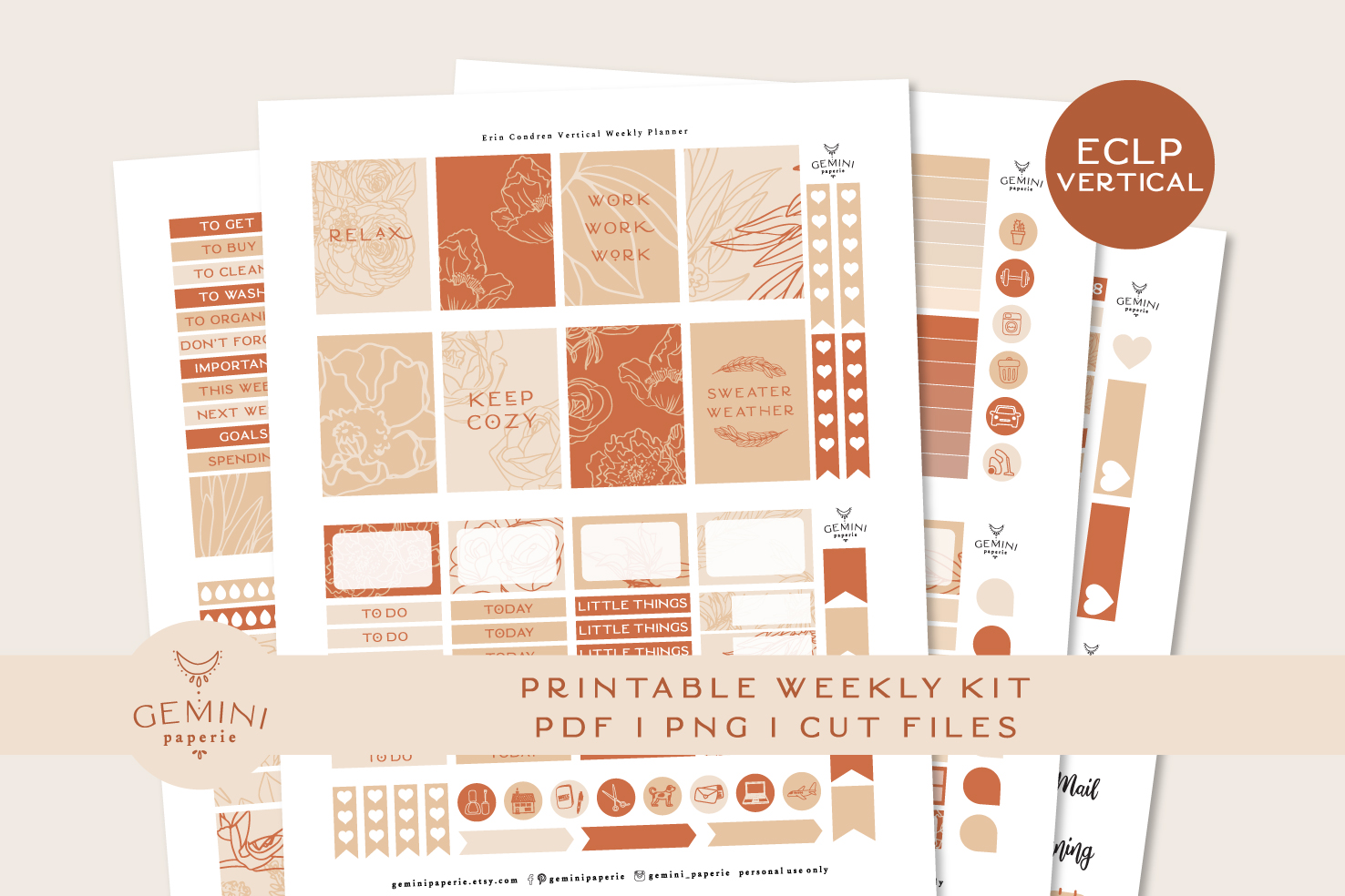 Printable Planner Stickers Weekly Kit for Erin Condren 2020 example image 1