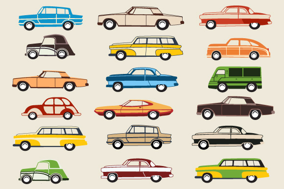 Retro cars and trains vector clipart example image 2